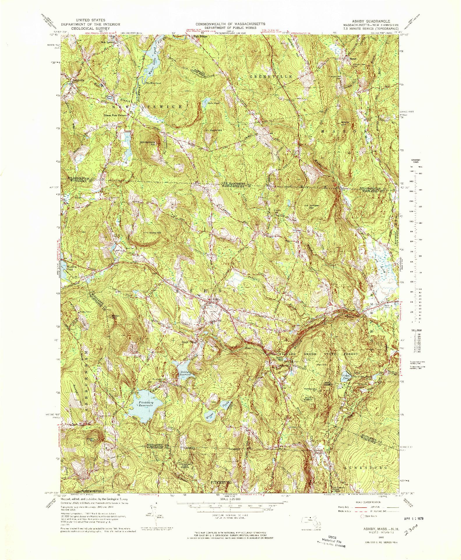 USGS 1:25000-SCALE QUADRANGLE FOR ASHBY, MA 1965