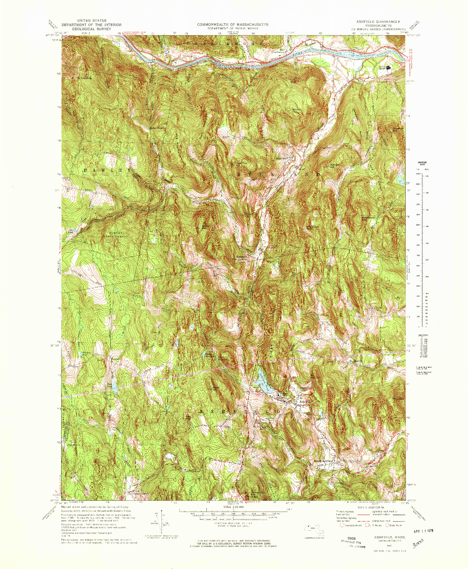 USGS 1:25000-SCALE QUADRANGLE FOR ASHFIELD, MA 1971