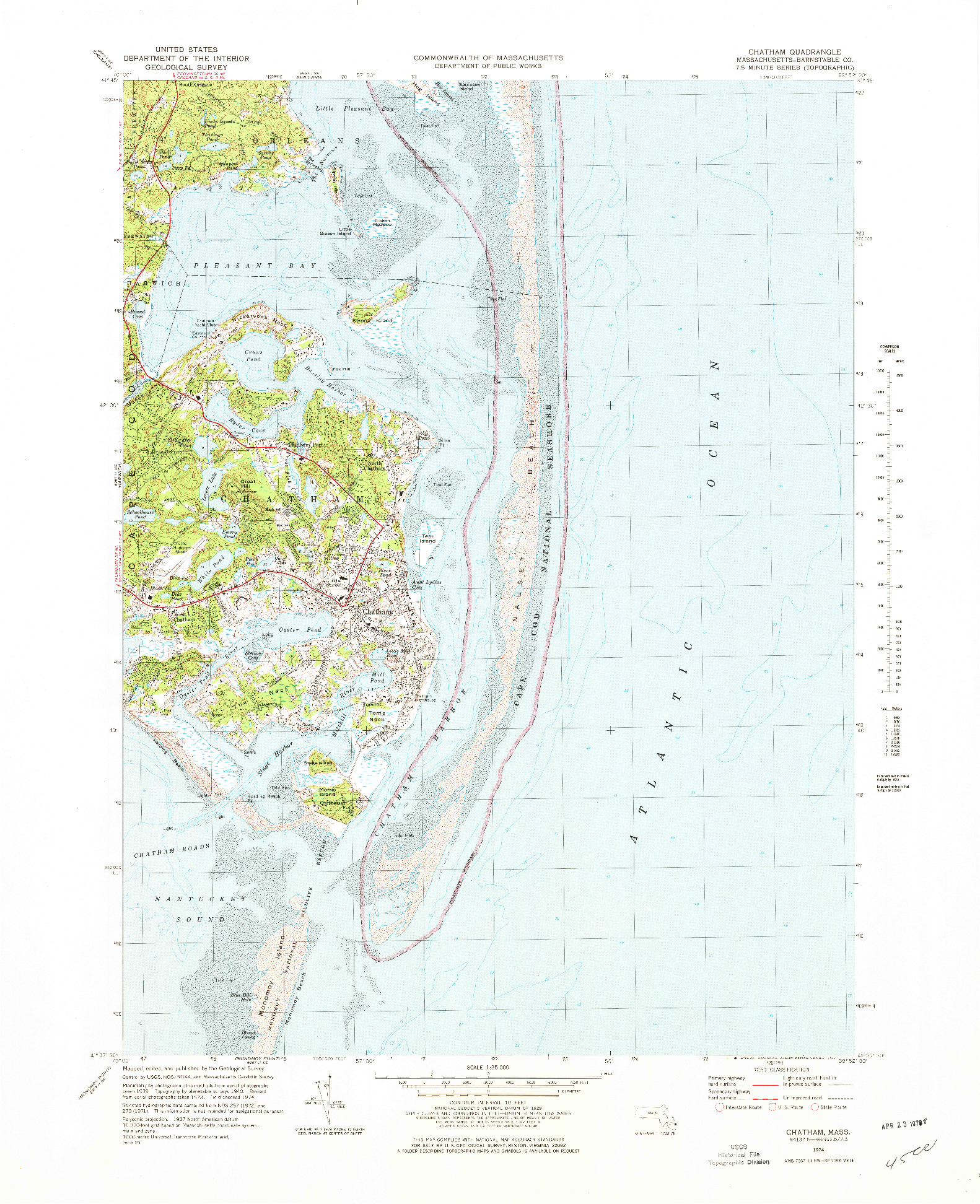USGS 1:25000-SCALE QUADRANGLE FOR CHATHAM, MA 1974