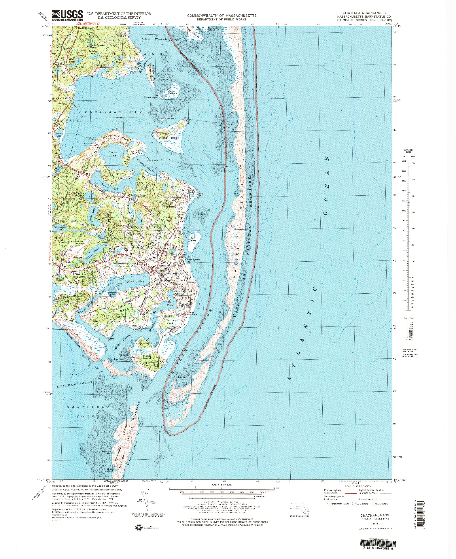 USGS 1:25000-SCALE QUADRANGLE FOR CHATHAM, MA 1974