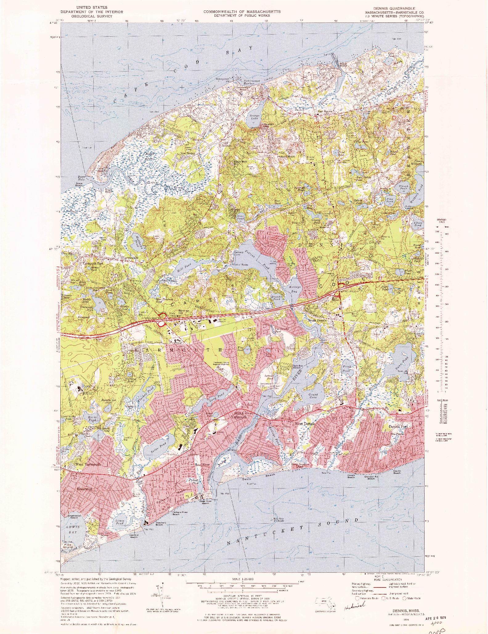 USGS 1:25000-SCALE QUADRANGLE FOR DENNIS, MA 1974