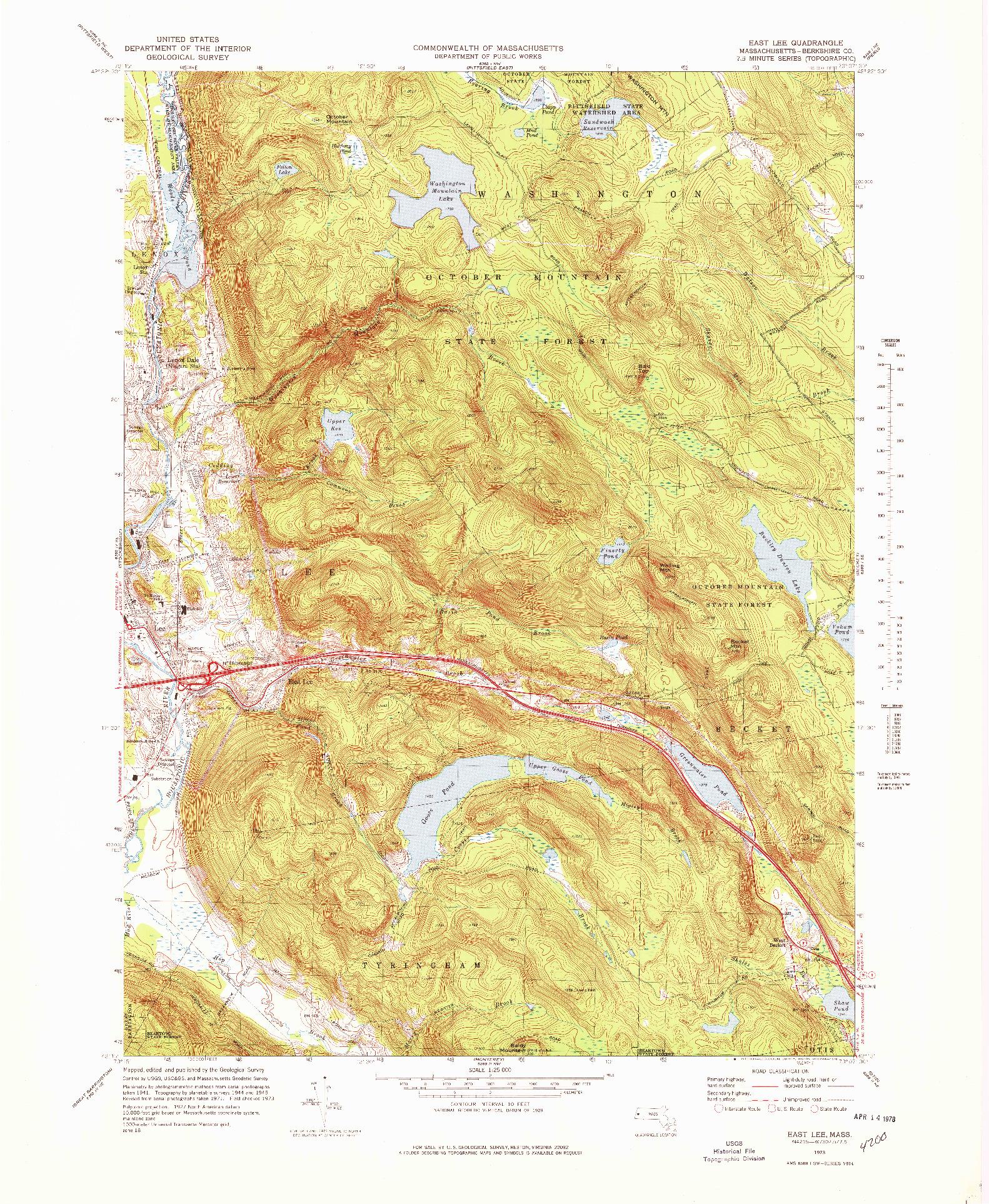 USGS 1:25000-SCALE QUADRANGLE FOR EAST LEE, MA 1973