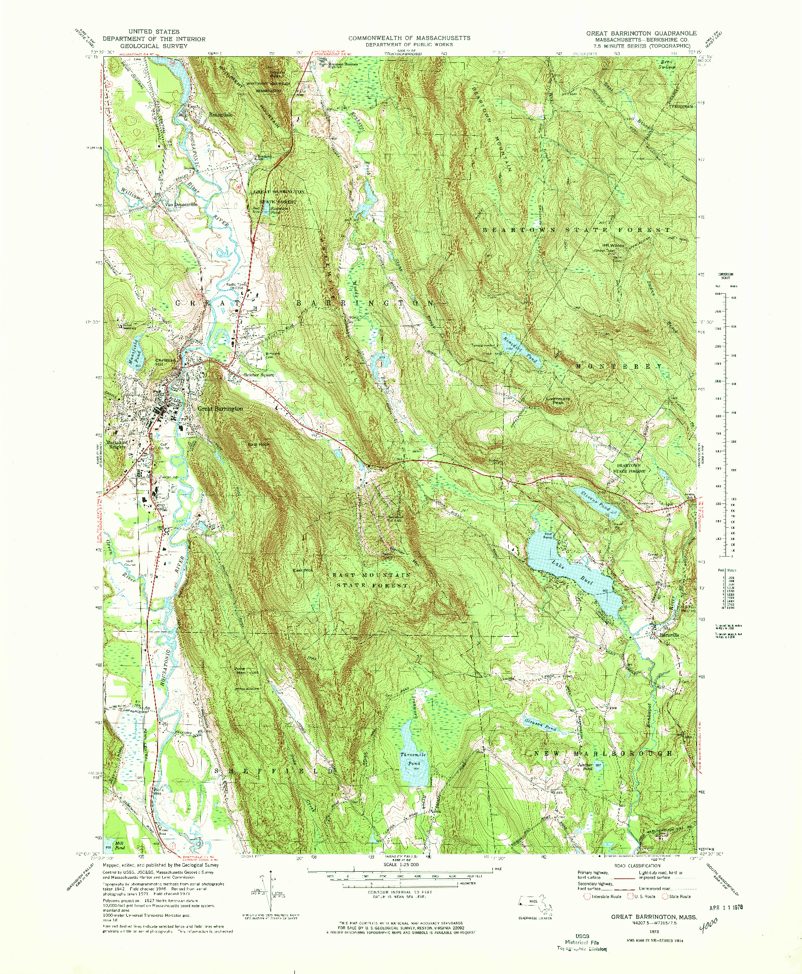 USGS 1:25000-SCALE QUADRANGLE FOR GREAT BARRINGTON, MA 1973