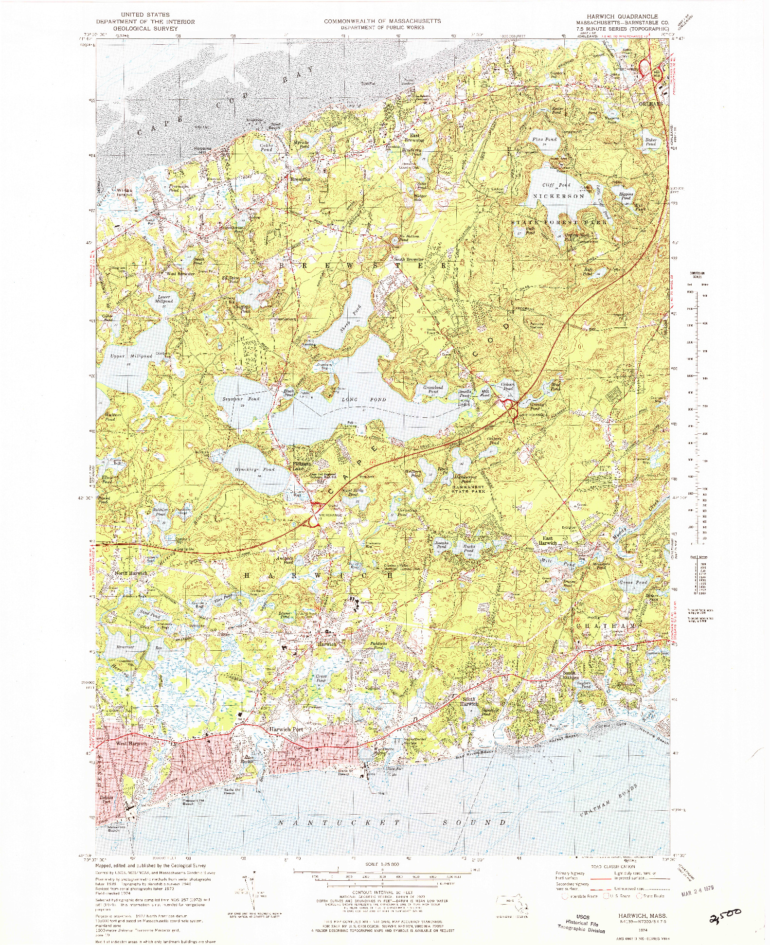 USGS 1:25000-SCALE QUADRANGLE FOR HARWICH, MA 1974