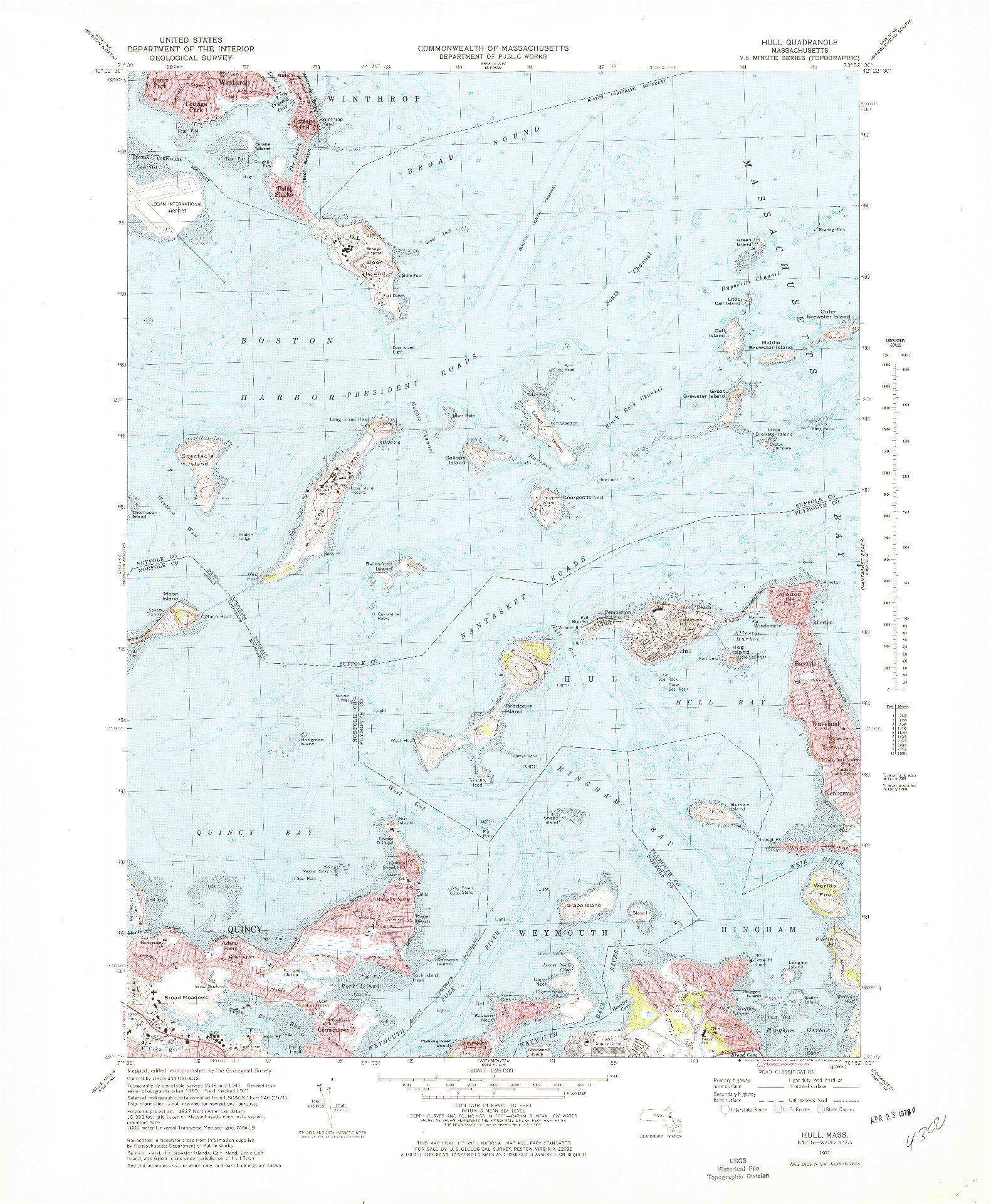 USGS 1:25000-SCALE QUADRANGLE FOR HULL, MA 1971