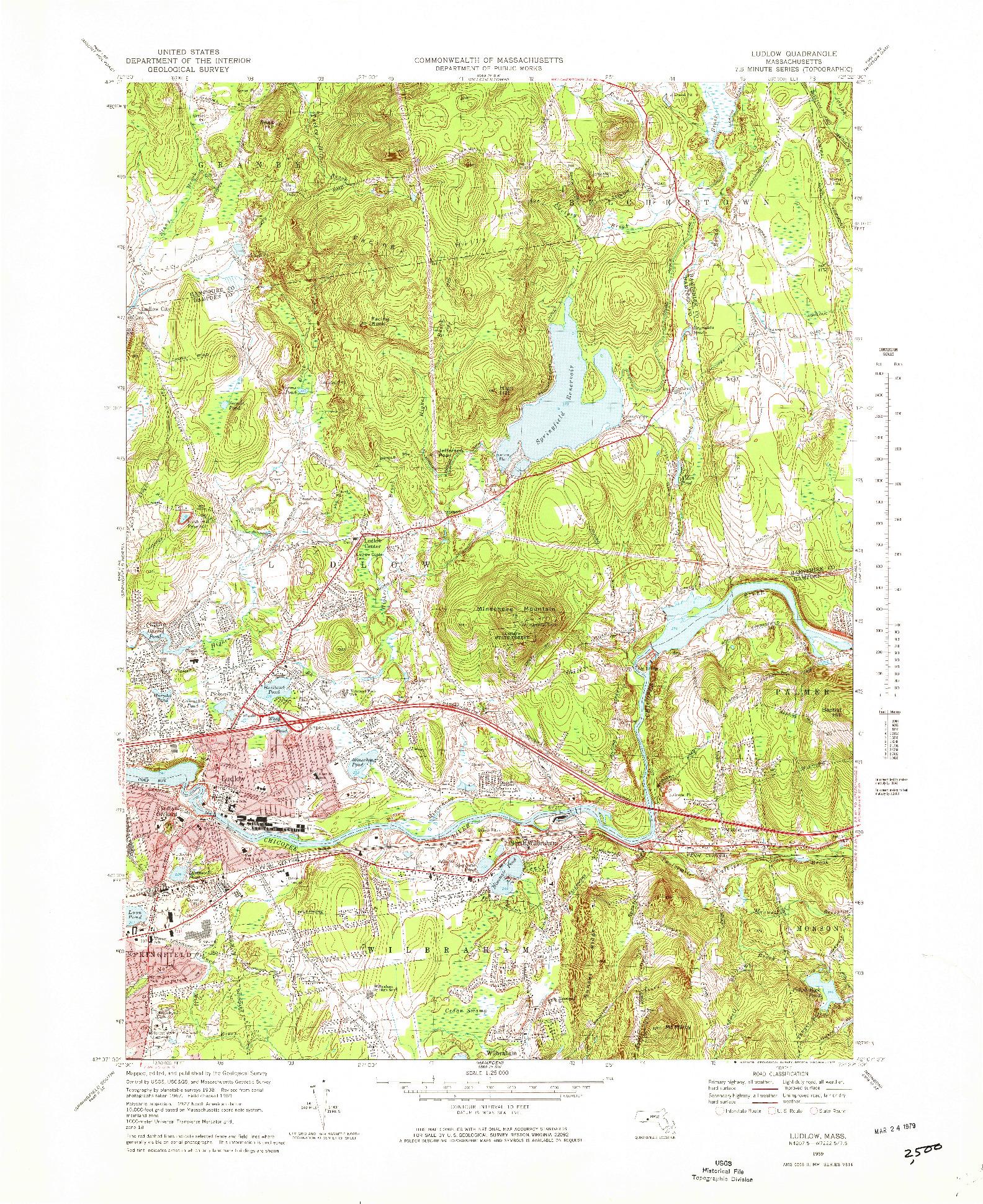 USGS 1:25000-SCALE QUADRANGLE FOR LUDLOW, MA 1969