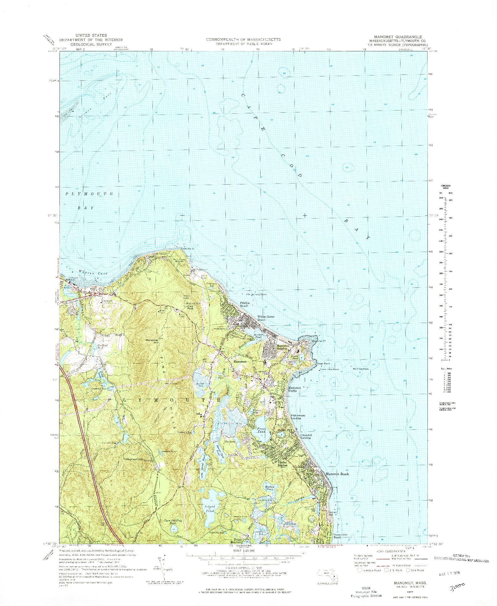 USGS 1:25000-SCALE QUADRANGLE FOR MANOMET, MA 1977
