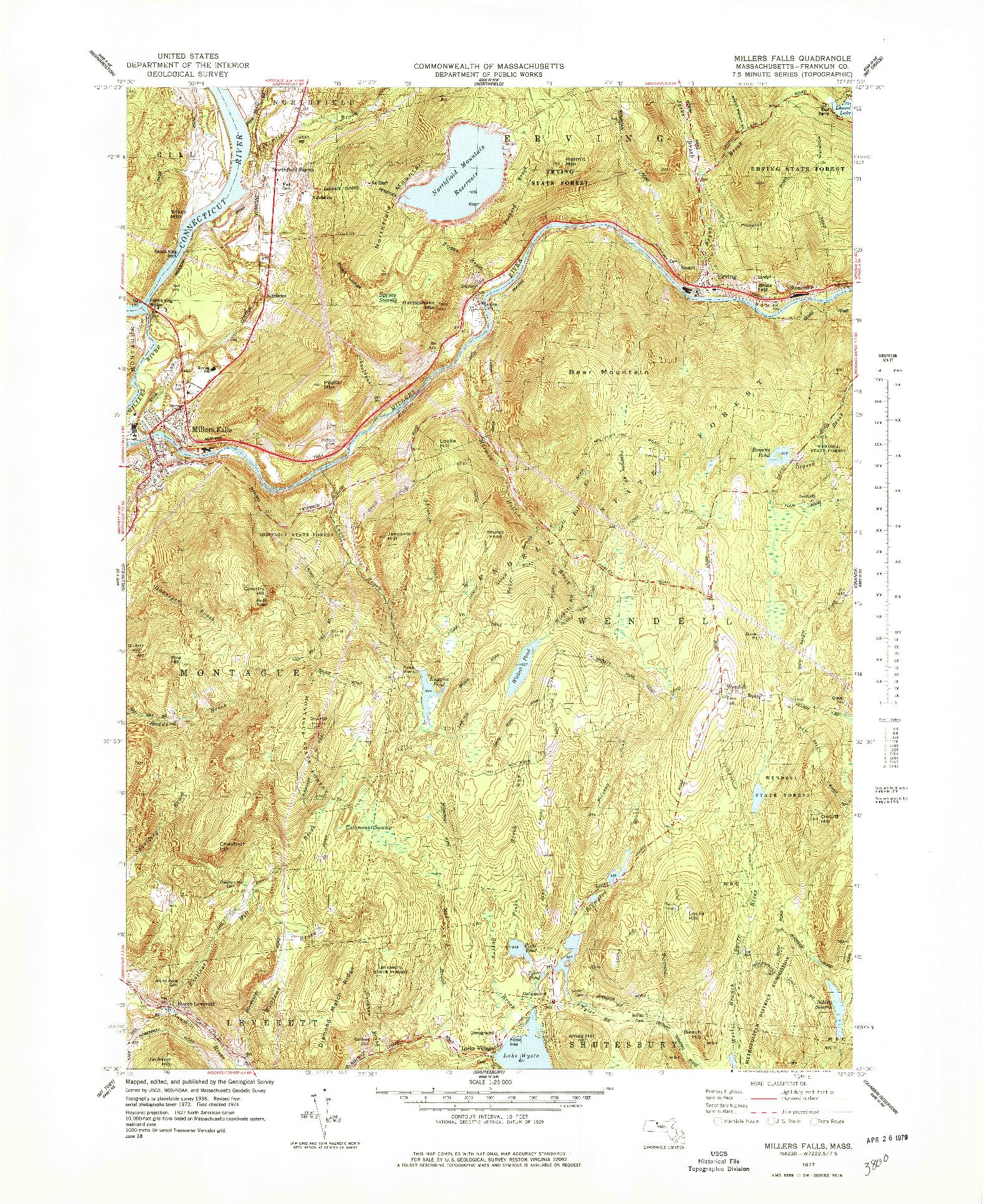 USGS 1:25000-SCALE QUADRANGLE FOR MILLERS FALLS, MA 1977