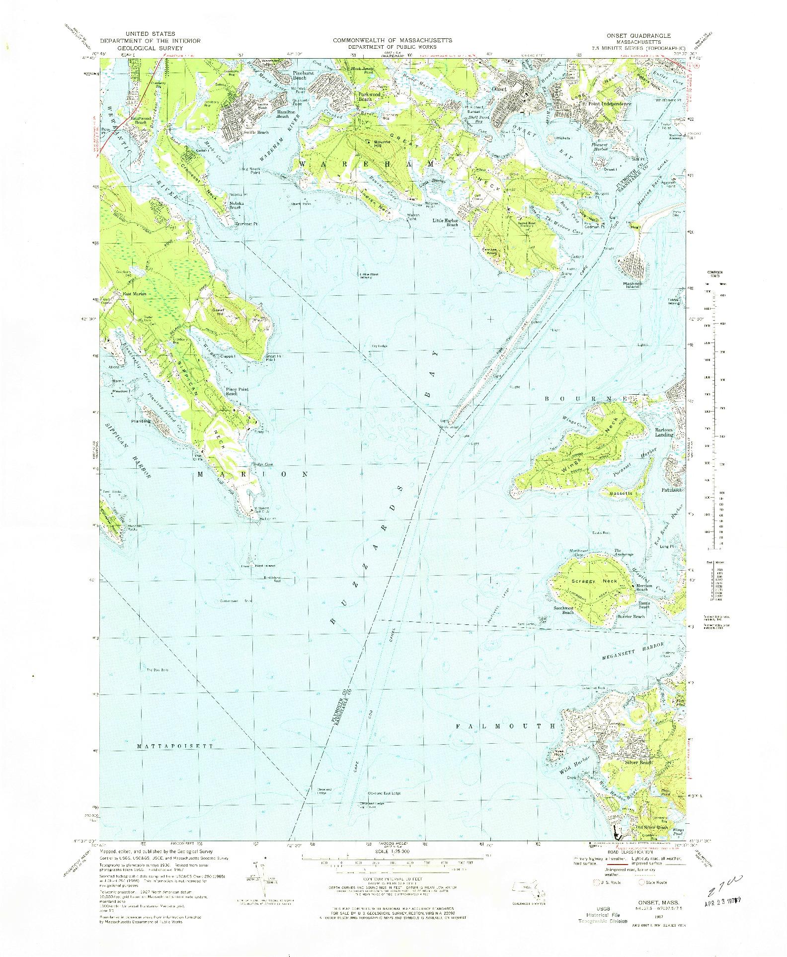 USGS 1:25000-SCALE QUADRANGLE FOR ONSET, MA 1967