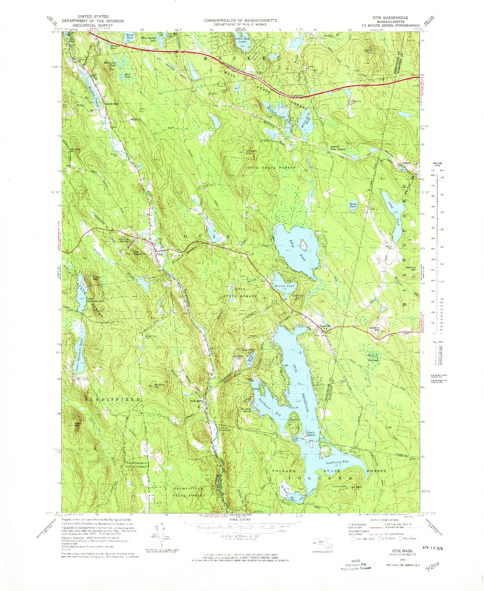 USGS 1:25000-SCALE QUADRANGLE FOR OTIS, MA 1973
