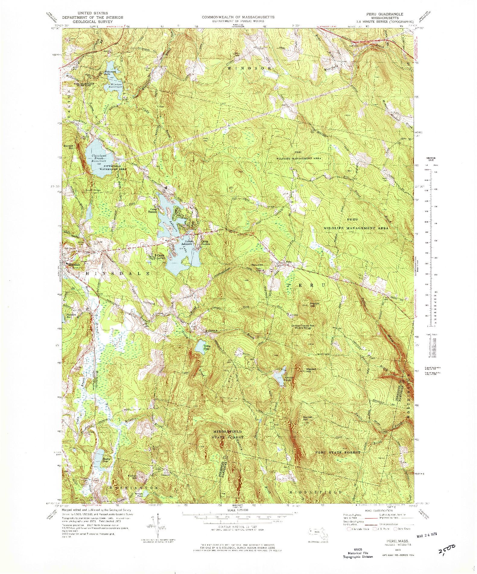 USGS 1:25000-SCALE QUADRANGLE FOR PERU, MA 1973