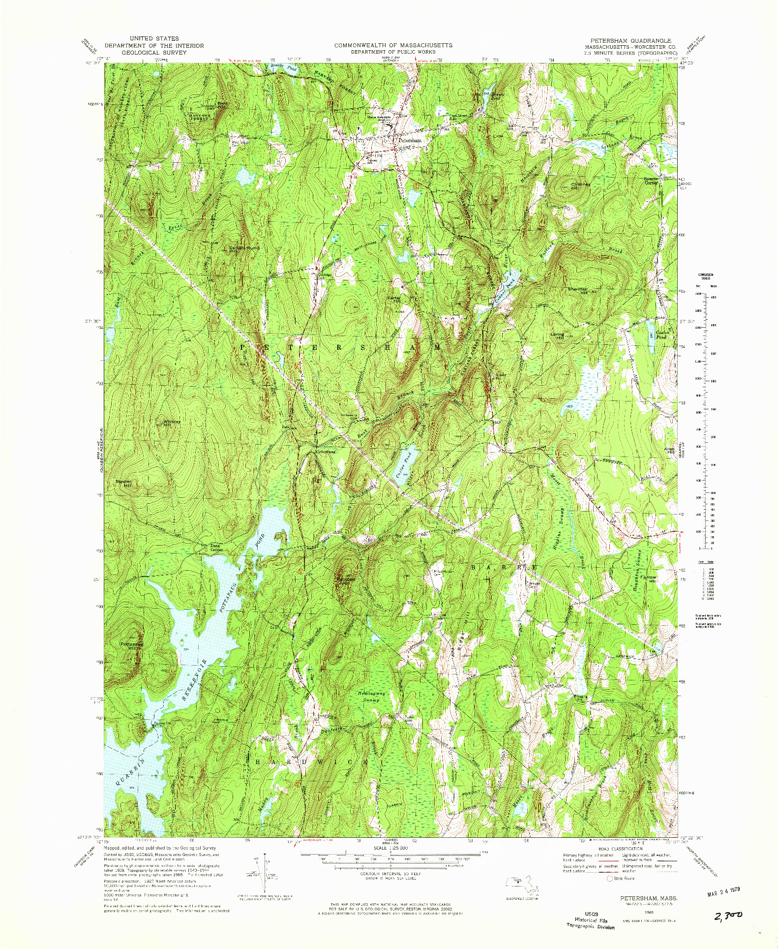 USGS 1:25000-SCALE QUADRANGLE FOR PETERSHAM, MA 1969