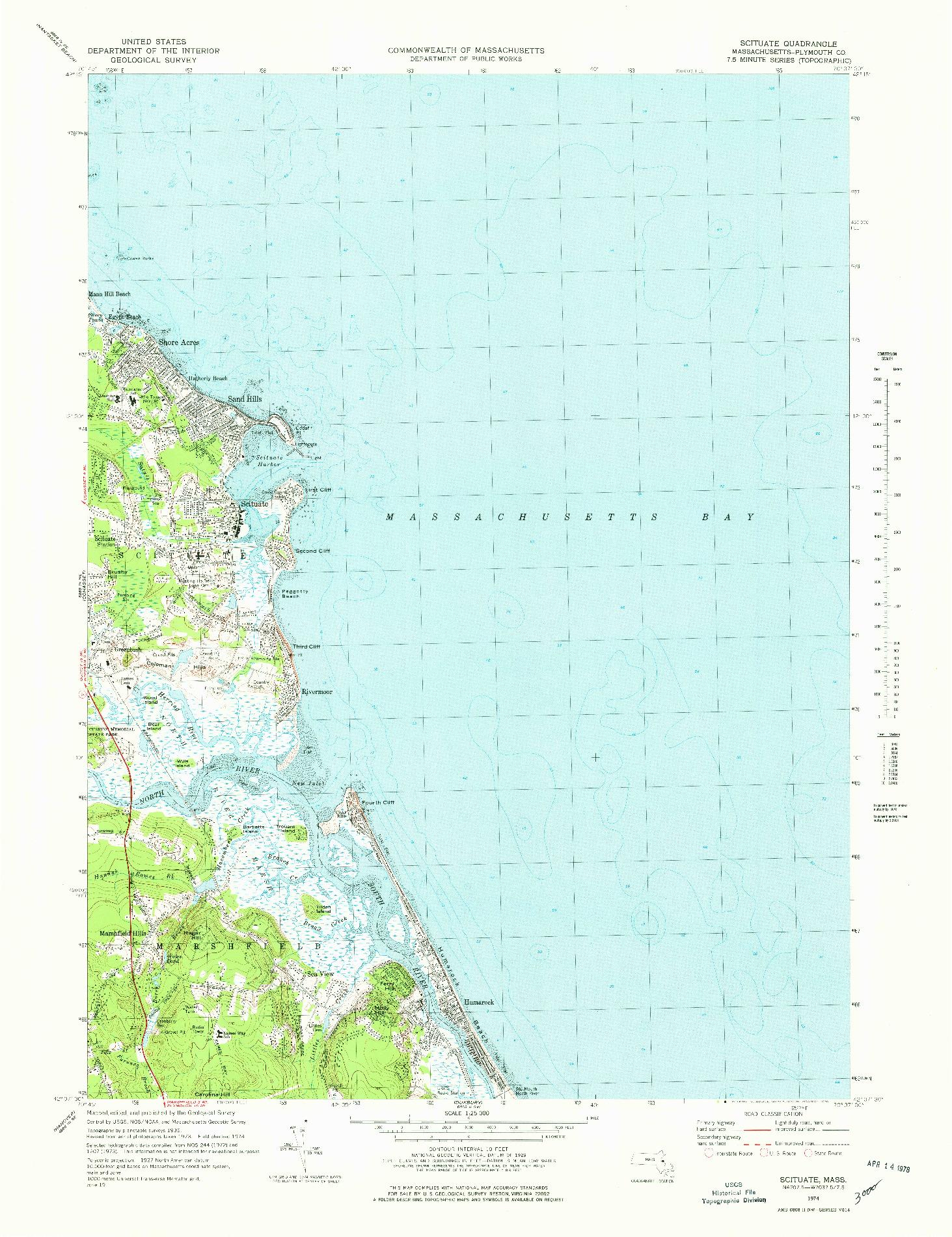 USGS 1:25000-SCALE QUADRANGLE FOR SCITUATE, MA 1974
