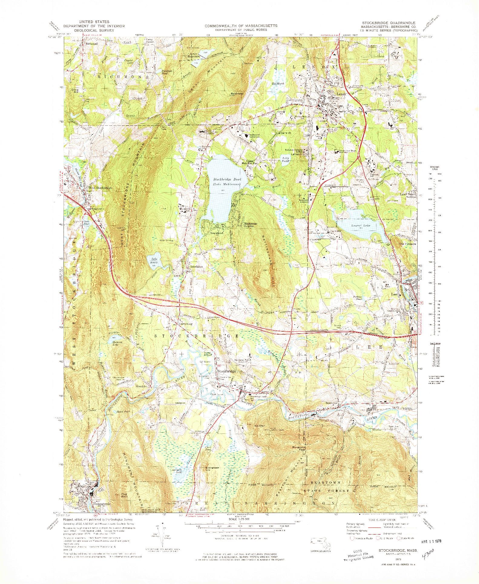 USGS 1:25000-SCALE QUADRANGLE FOR STOCKBRIDGE, MA 1973