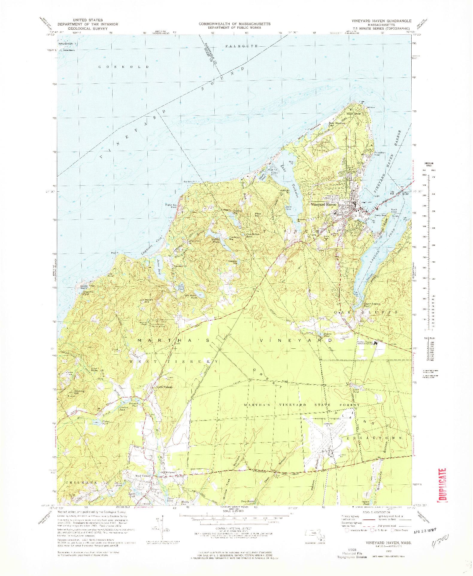 USGS 1:25000-SCALE QUADRANGLE FOR VINEYARD HAVEN, MA 1972