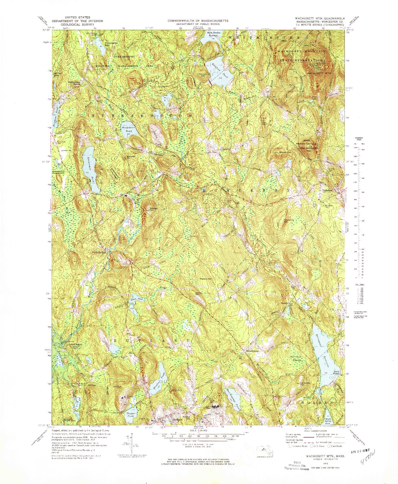 USGS 1:25000-SCALE QUADRANGLE FOR WACHUSETT MTN, MA 1972