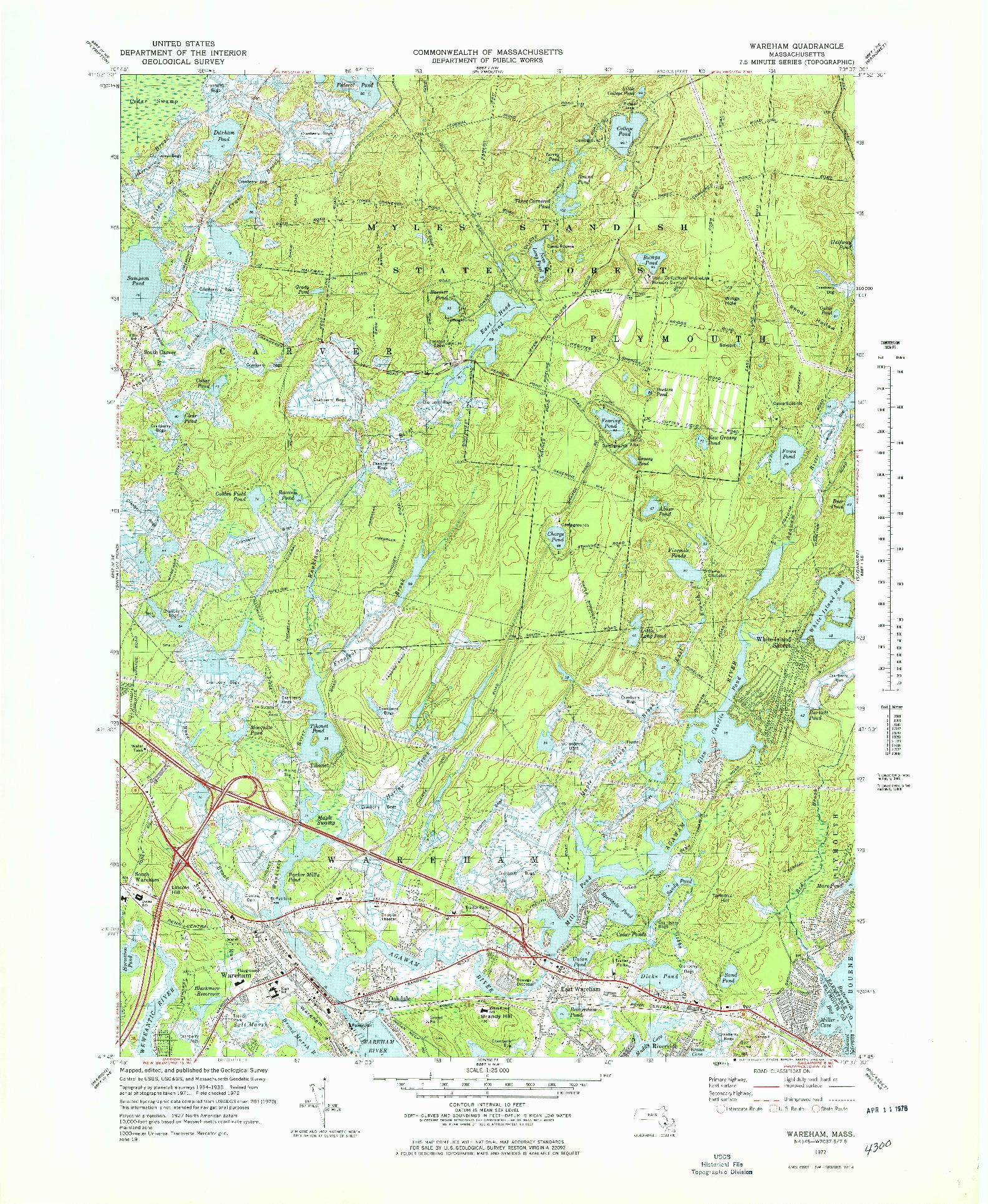 USGS 1:25000-SCALE QUADRANGLE FOR WAREHAM, MA 1972