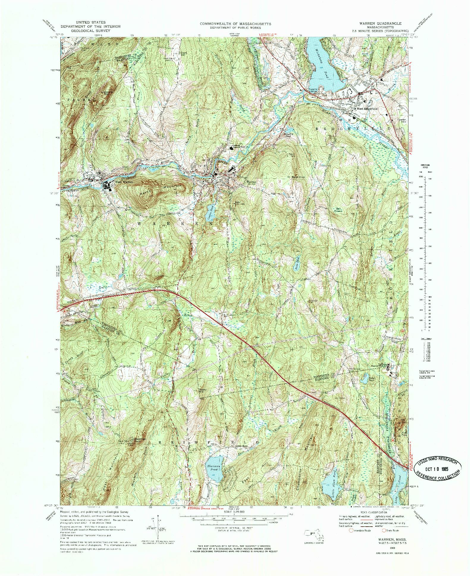USGS 1:25000-SCALE QUADRANGLE FOR WARREN, MA 1969