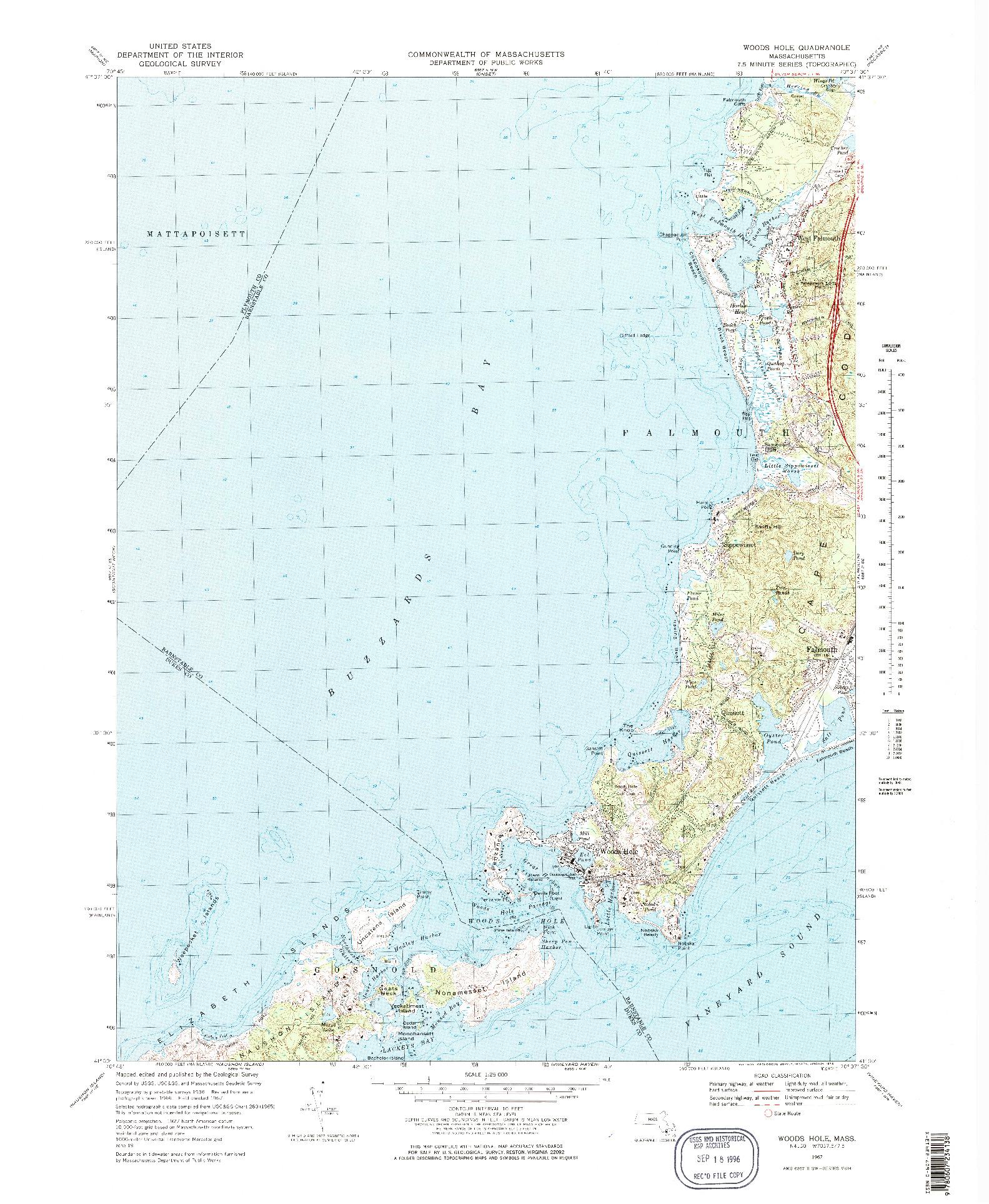 USGS 1:25000-SCALE QUADRANGLE FOR WOODS HOLE, MA 1967