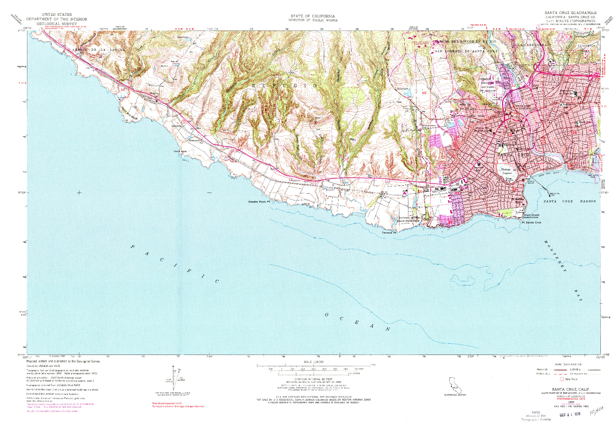 USGS 1:24000-SCALE QUADRANGLE FOR SANTA CRUZ, CA 1954