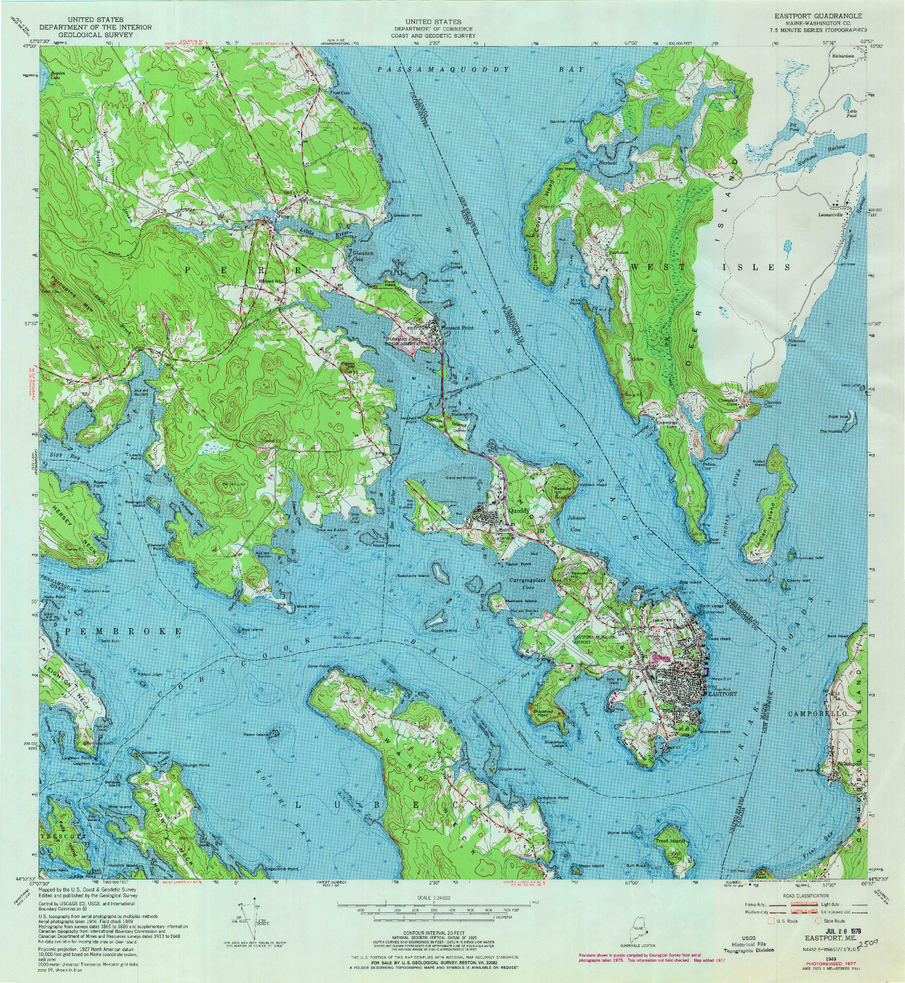 USGS 1:24000-SCALE QUADRANGLE FOR EASTPORT, ME 1949