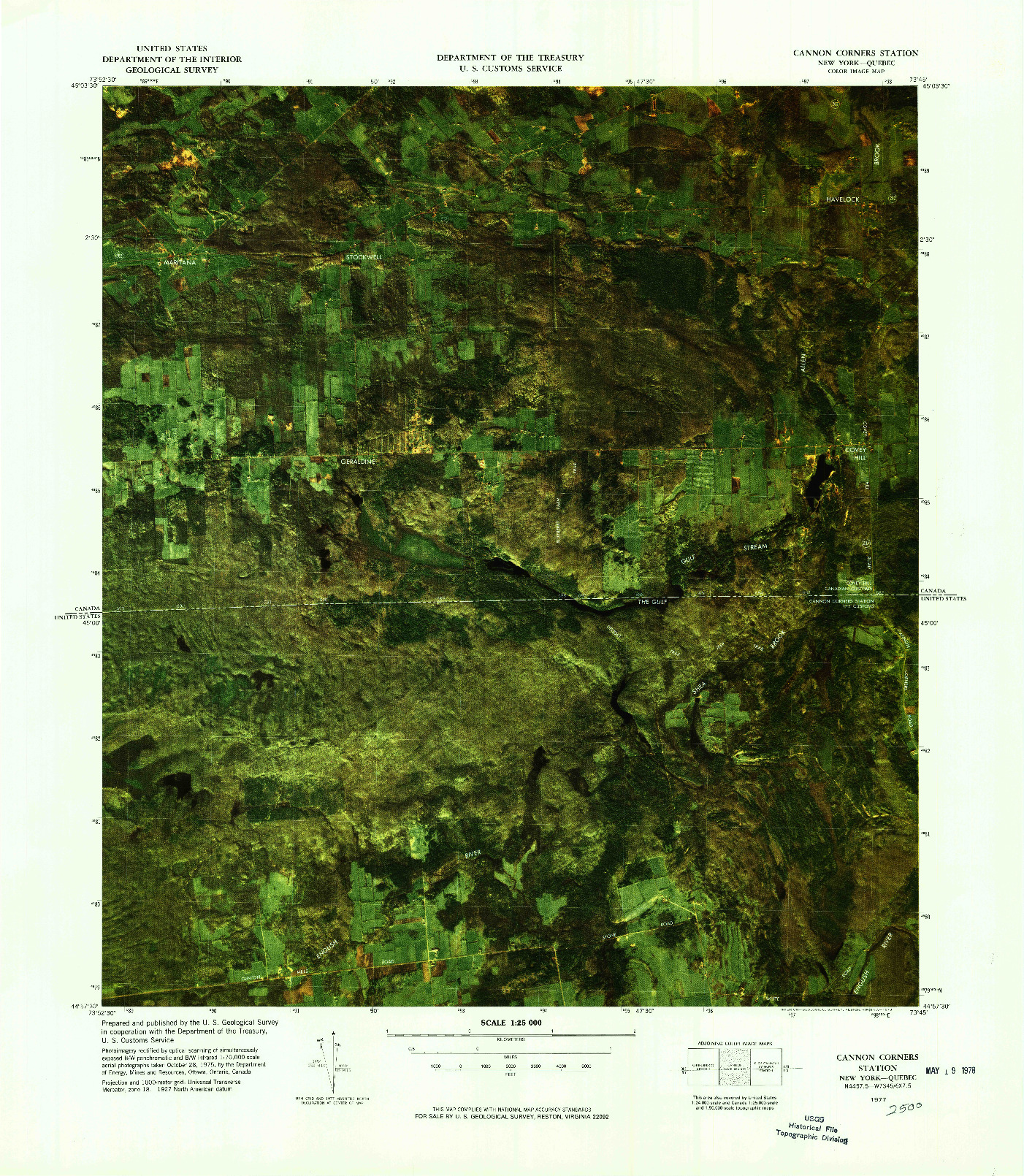 USGS 1:25000-SCALE QUADRANGLE FOR CANNON CORNERS STATION, NY 1977
