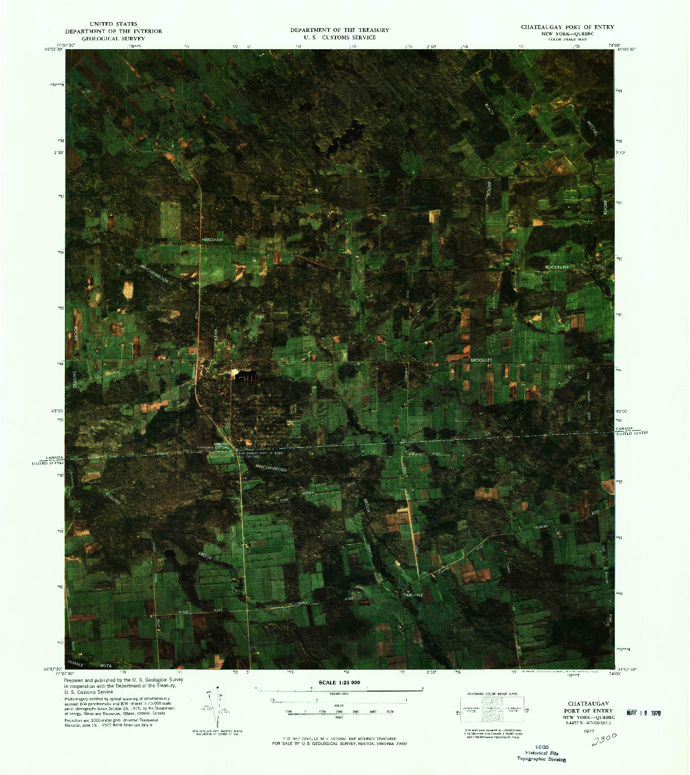 USGS 1:25000-SCALE QUADRANGLE FOR CHATEAUGAY PORT OF ENTRY, NY 1977