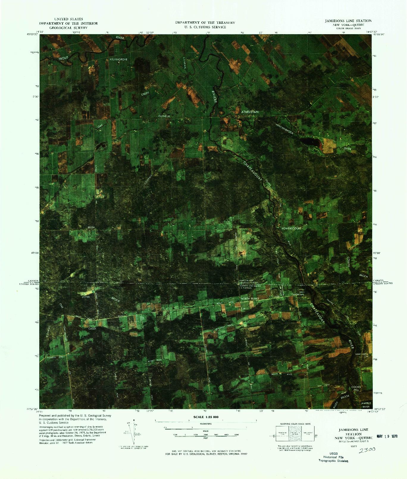 USGS 1:25000-SCALE QUADRANGLE FOR JAMIESONS LINE STATION, NY 1977