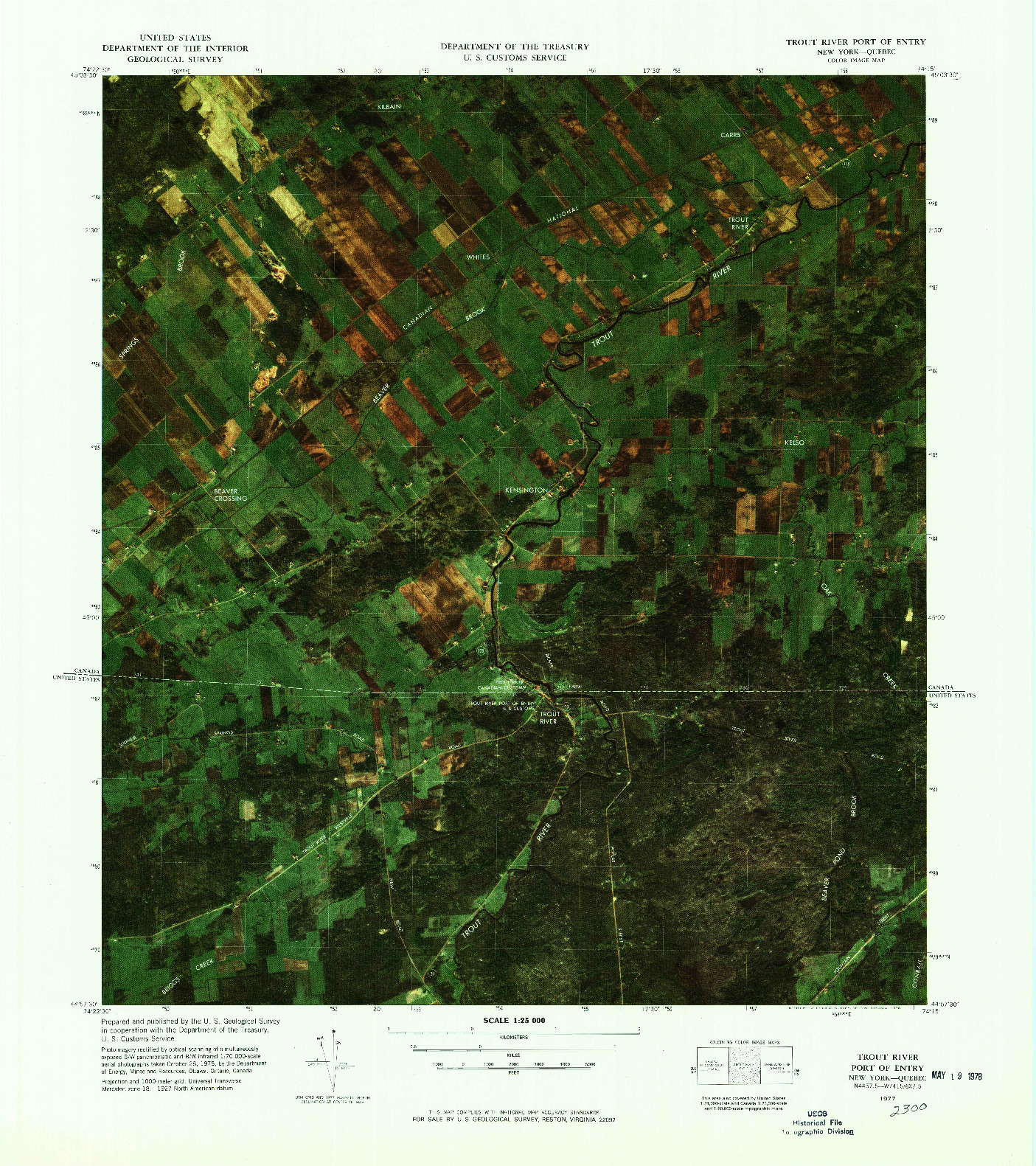 USGS 1:25000-SCALE QUADRANGLE FOR TROUT RIVER PORT OF ENTRY, NY 1977