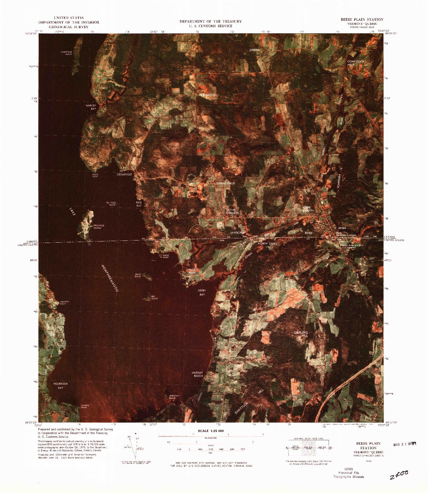 USGS 1:25000-SCALE QUADRANGLE FOR BEEBE PLAIN STATION, VT 1978