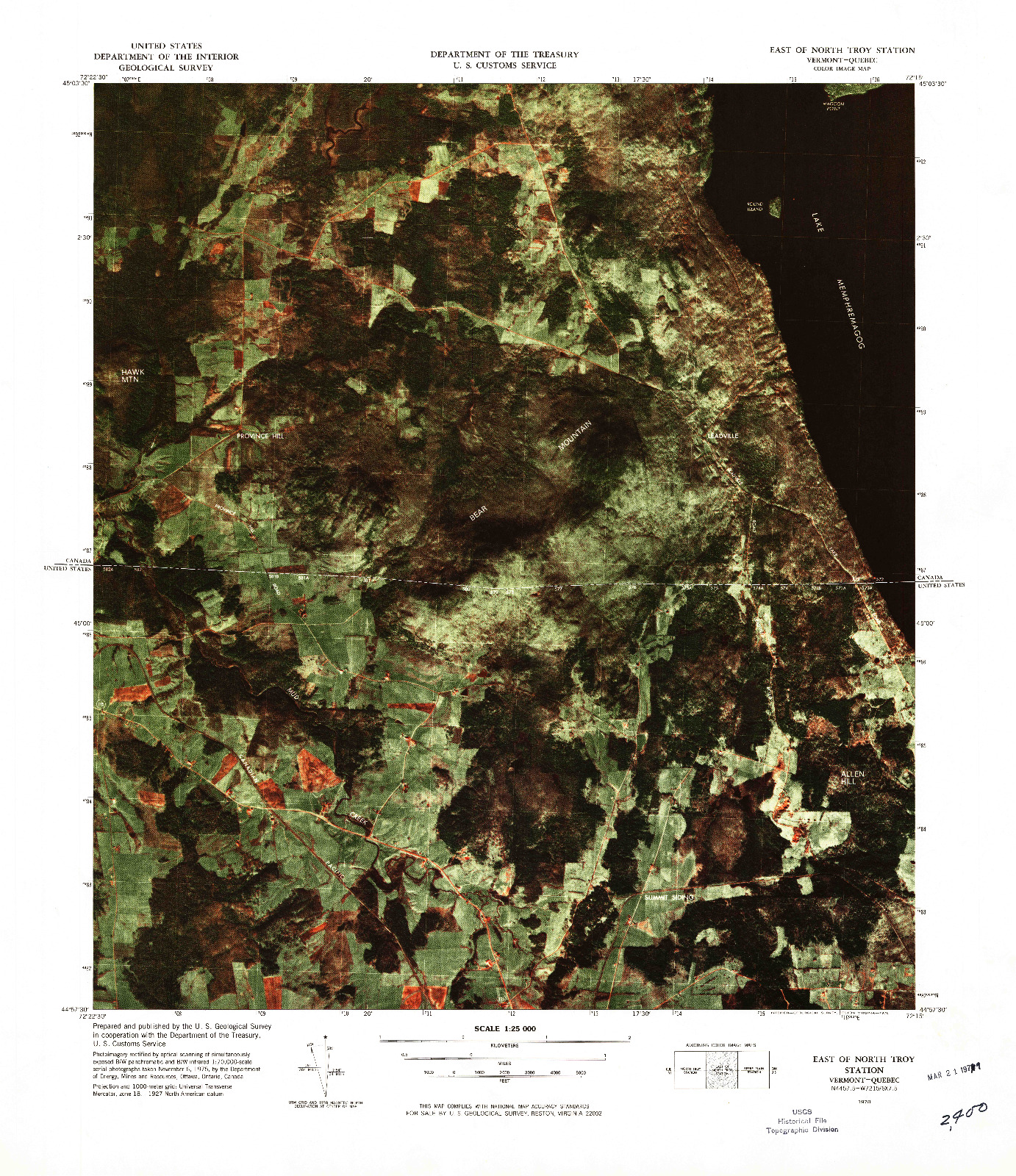 USGS 1:25000-SCALE QUADRANGLE FOR EAST OF NORTH TROY STATION, VT 1978