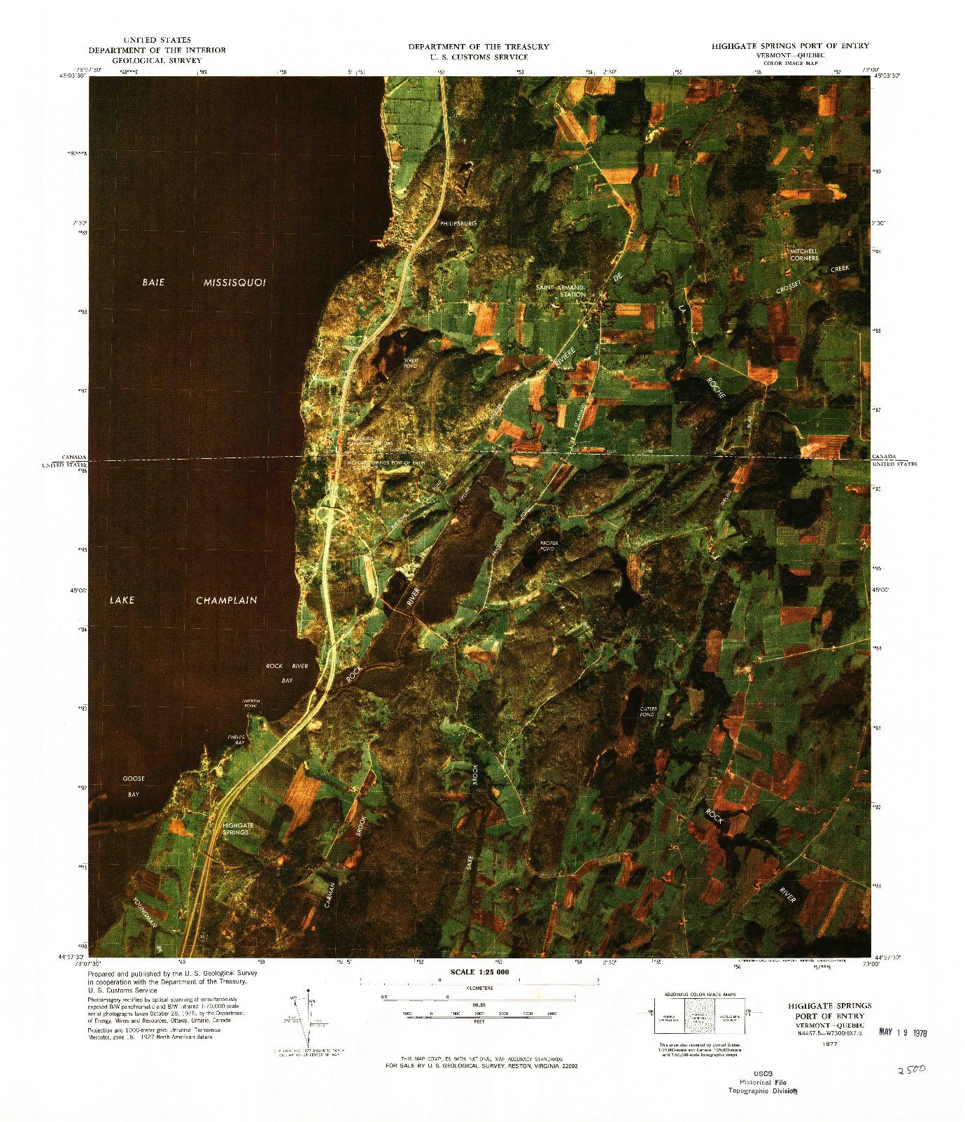 USGS 1:25000-SCALE QUADRANGLE FOR HIGHGATE SPRINGS PORT OF ENTRY, VT 1977