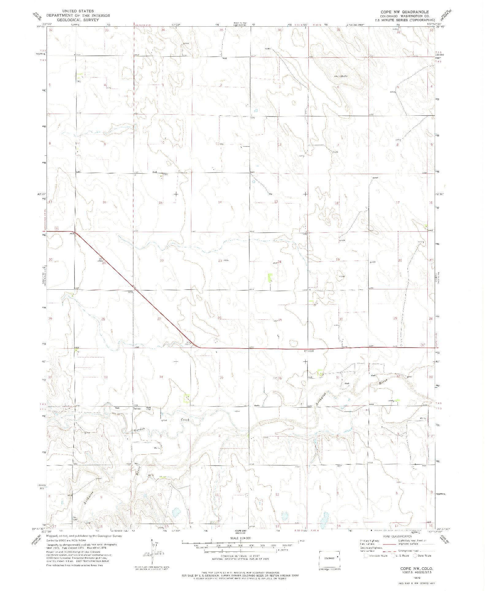 USGS 1:24000-SCALE QUADRANGLE FOR COPE NW, CO 1978