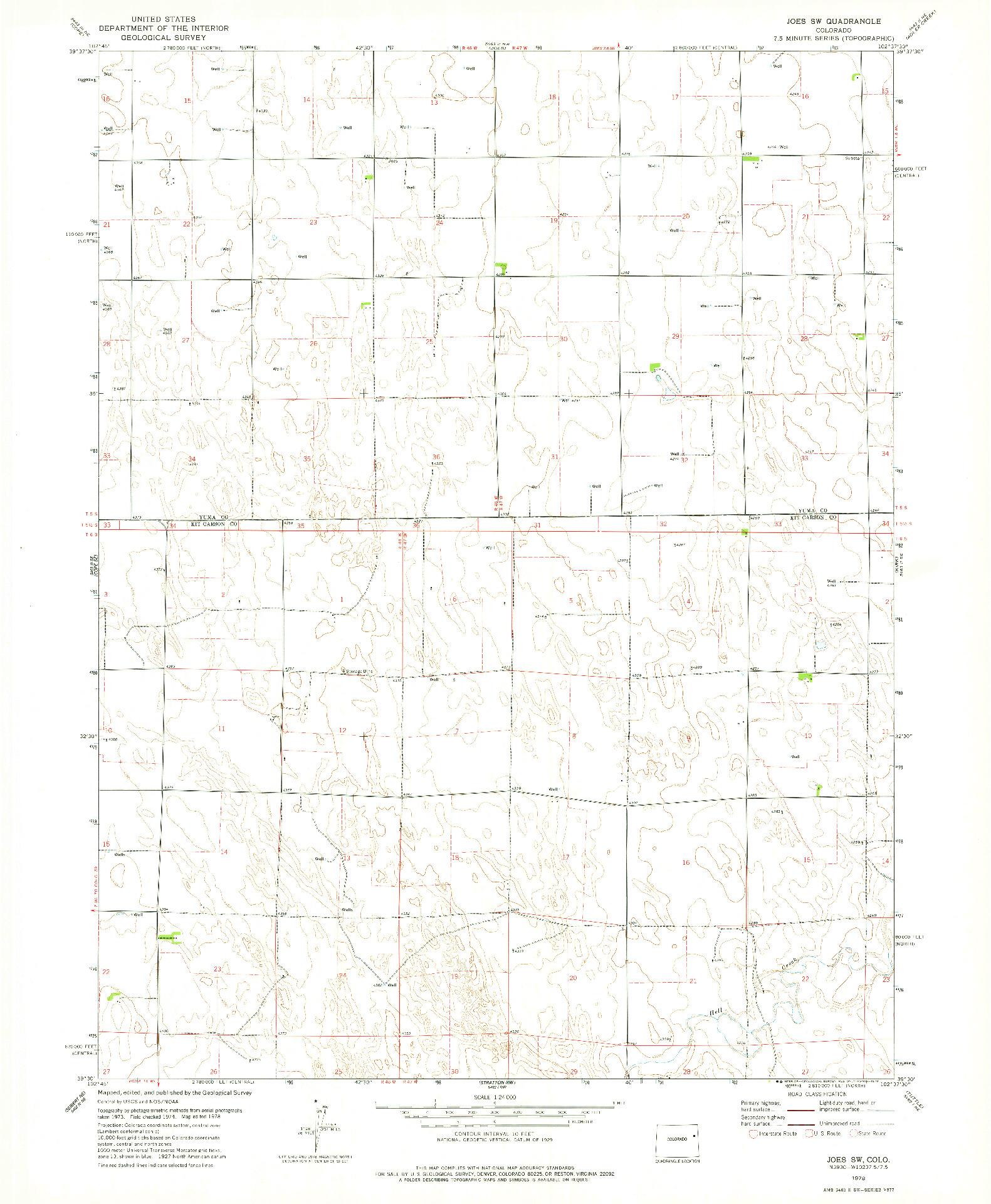 USGS 1:24000-SCALE QUADRANGLE FOR JOES SW, CO 1978