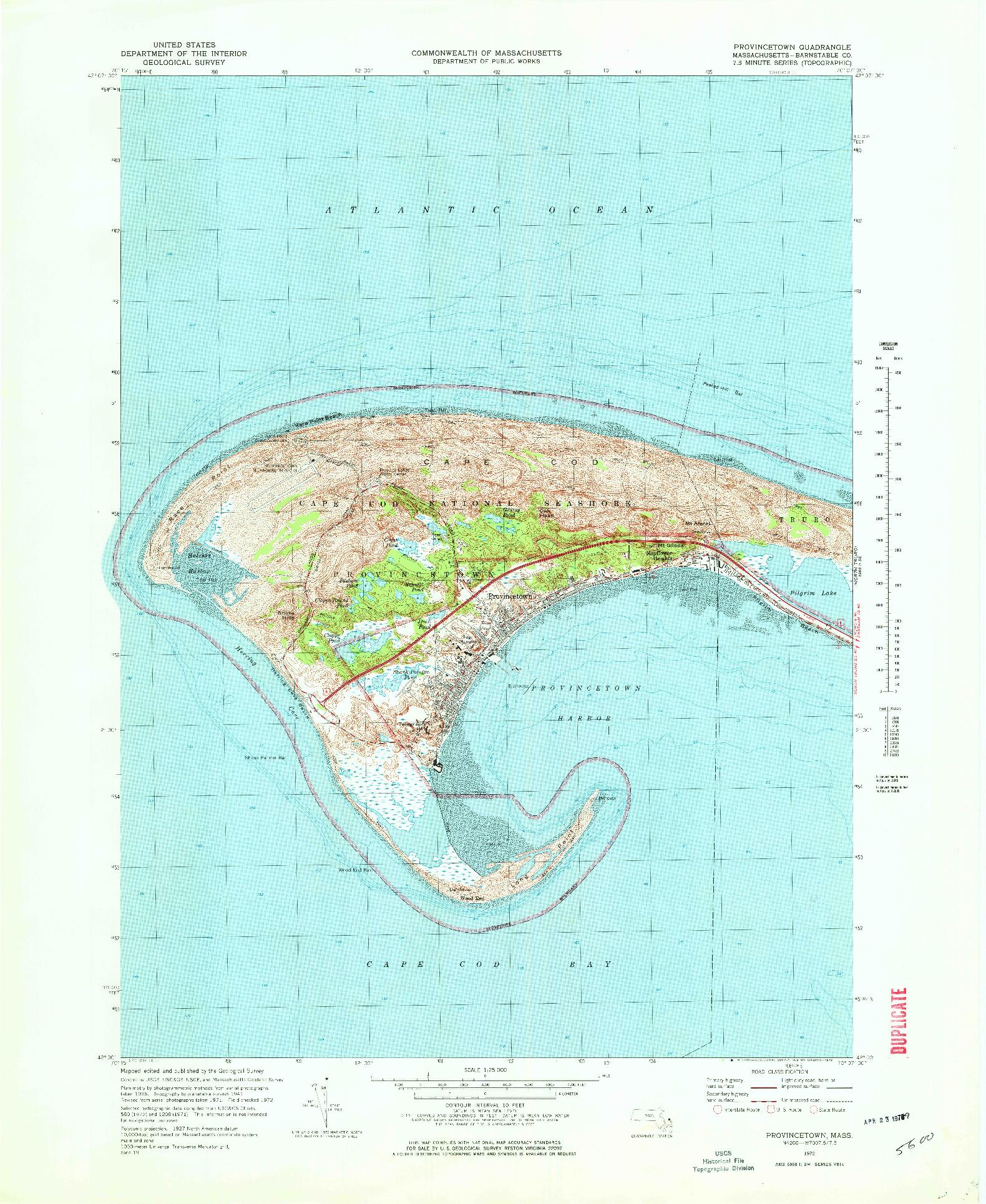 USGS 1:25000-SCALE QUADRANGLE FOR PROVINCETOWN, MA 1972