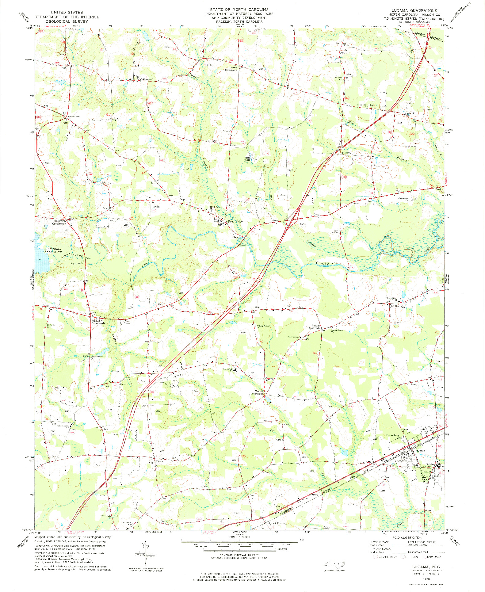 USGS 1:24000-SCALE QUADRANGLE FOR LUCAMA, NC 1978