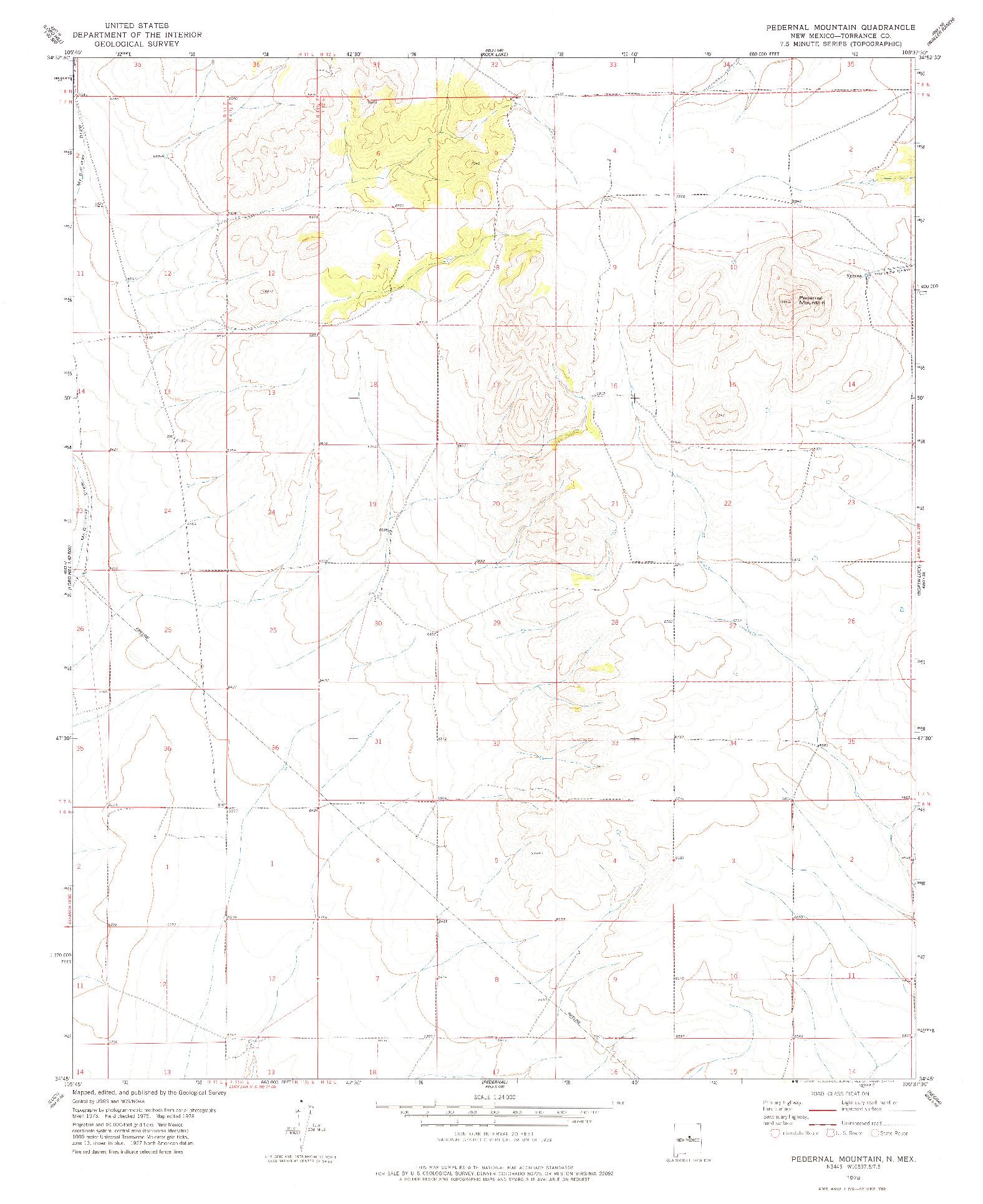 USGS 1:24000-SCALE QUADRANGLE FOR PEDERNAL MOUNTAIN, NM 1978