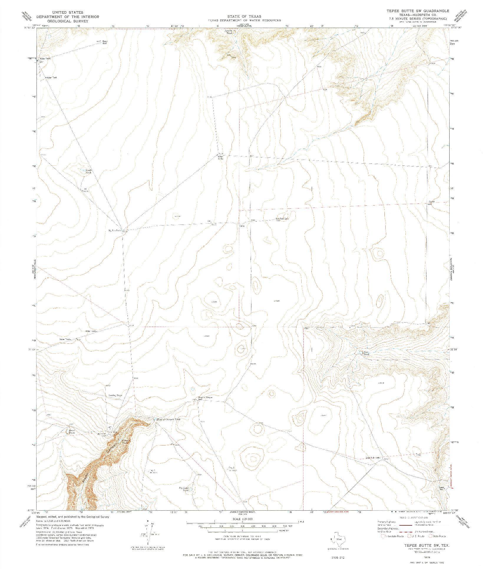 USGS 1:24000-SCALE QUADRANGLE FOR TEPEE BUTTE SW, TX 1978
