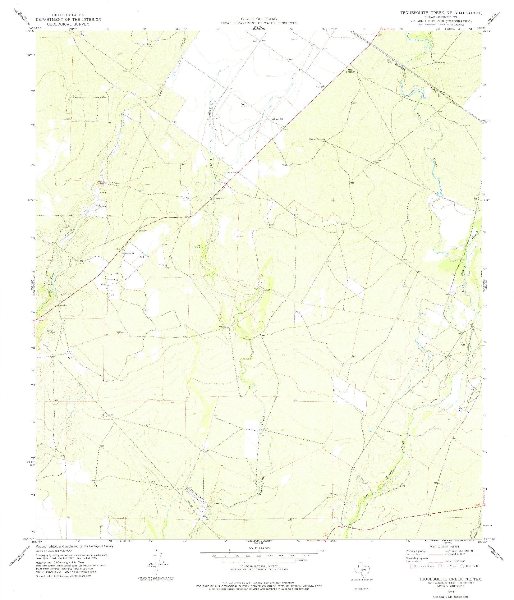 USGS 1:24000-SCALE QUADRANGLE FOR TEQUESQUITE CREEK NE, TX 1978