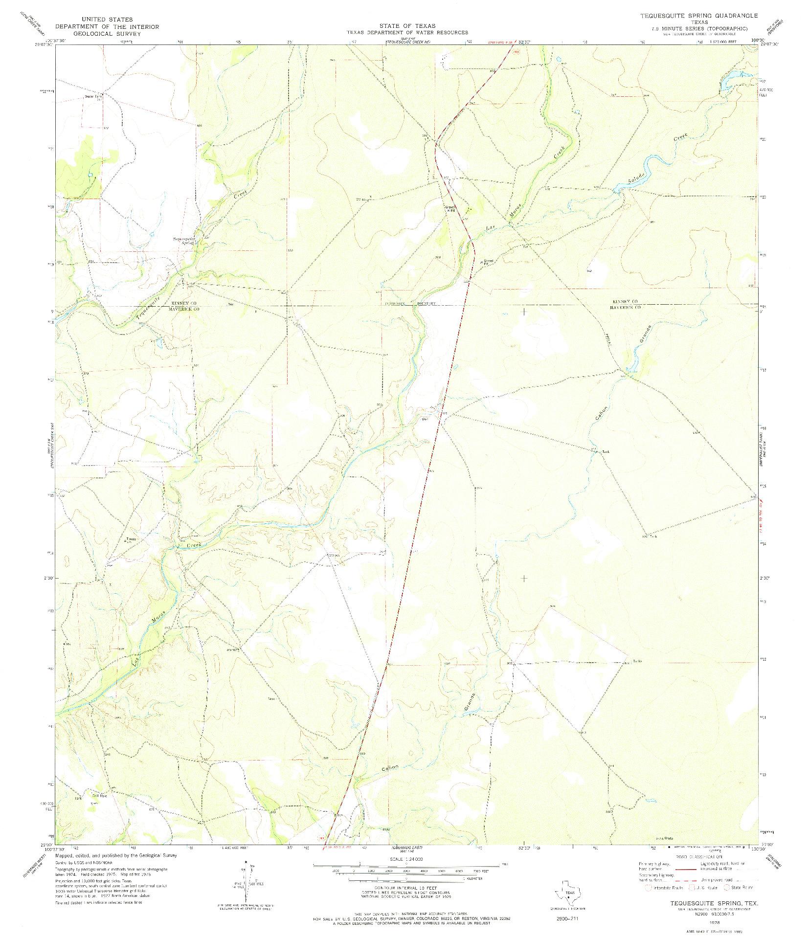 USGS 1:24000-SCALE QUADRANGLE FOR TEQUESQUITE SPRING, TX 1978