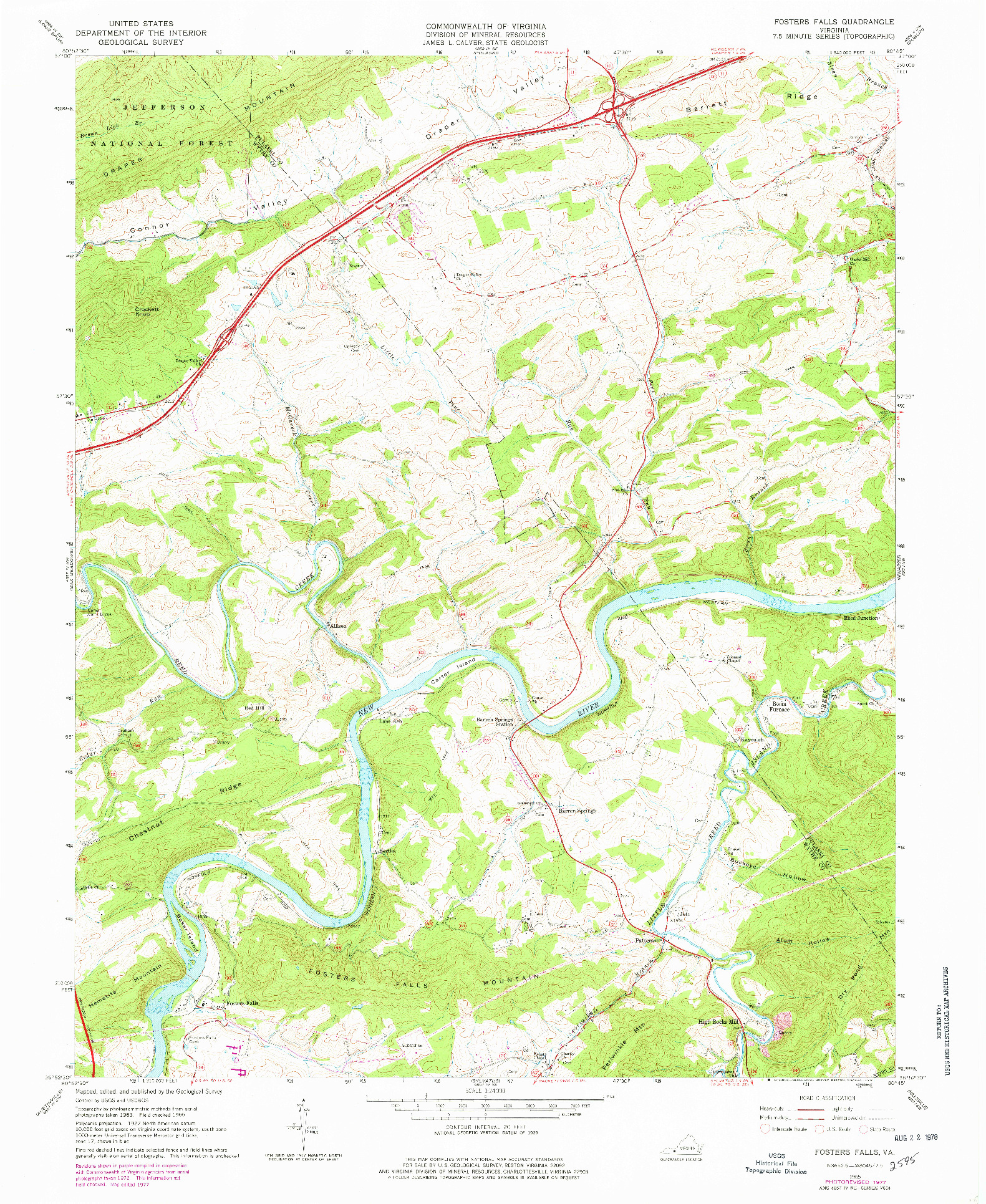 USGS 1:24000-SCALE QUADRANGLE FOR FOSTERS FALLS, VA 1965