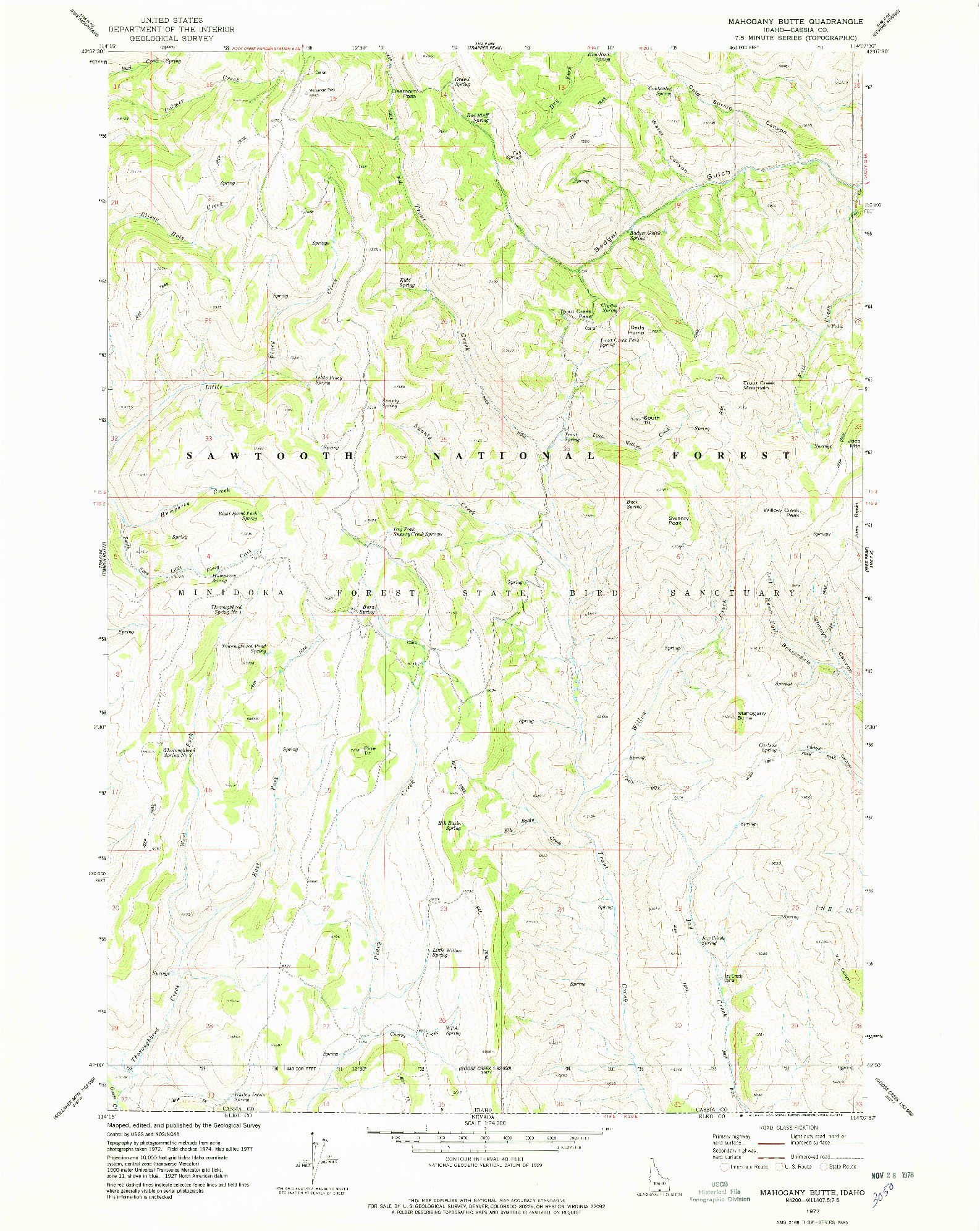 USGS 1:24000-SCALE QUADRANGLE FOR MAHOGANY BUTTE, ID 1977