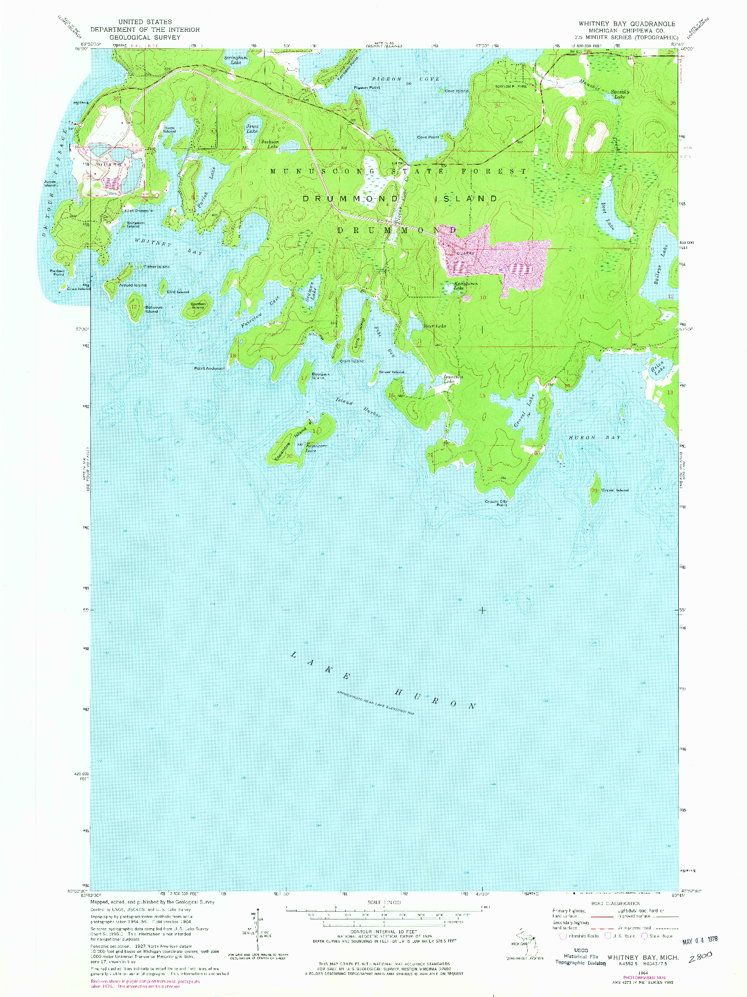 USGS 1:24000-SCALE QUADRANGLE FOR WHITNEY BAY, MI 1964