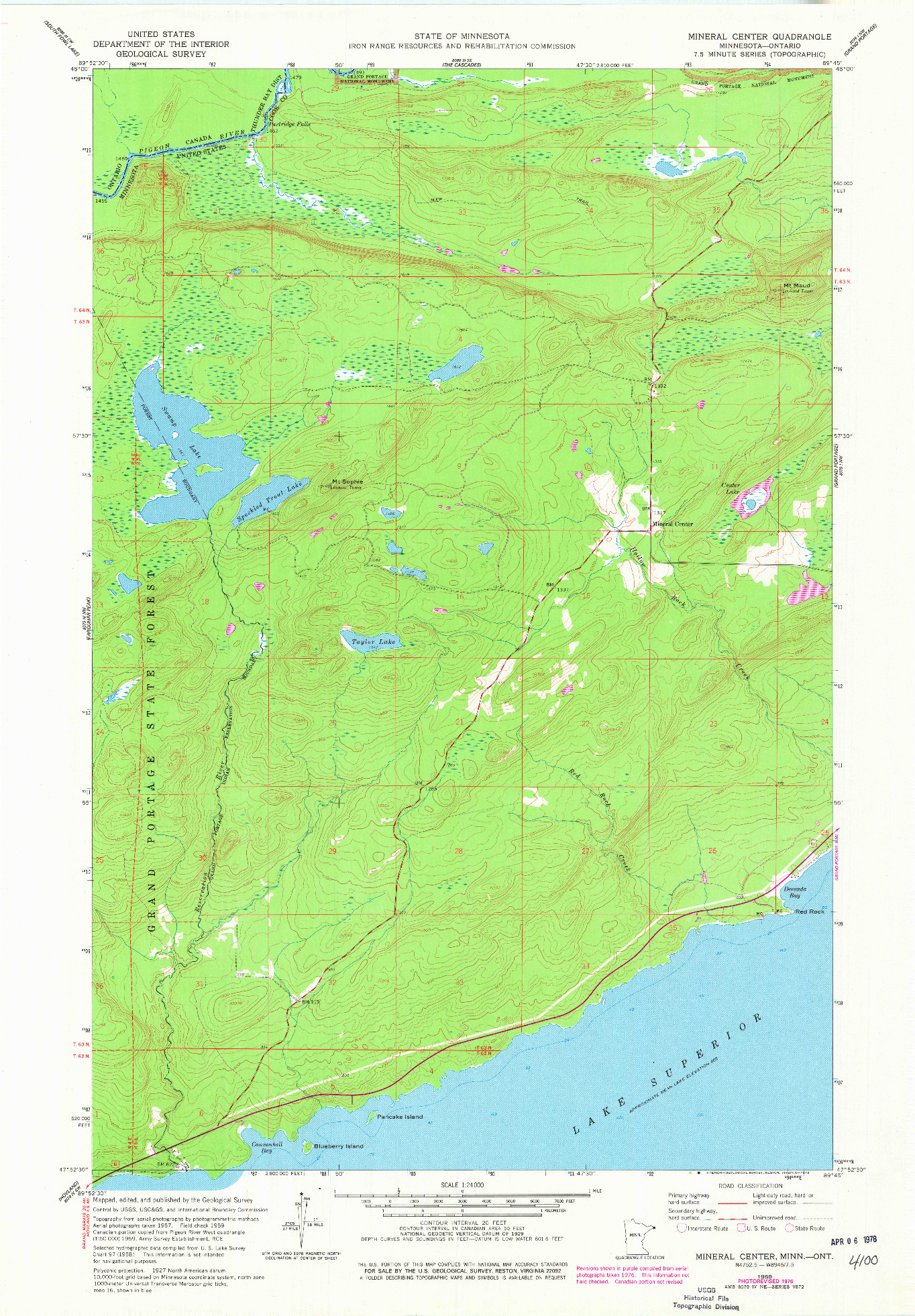 USGS 1:24000-SCALE QUADRANGLE FOR MINERAL CENTER, MN 1959