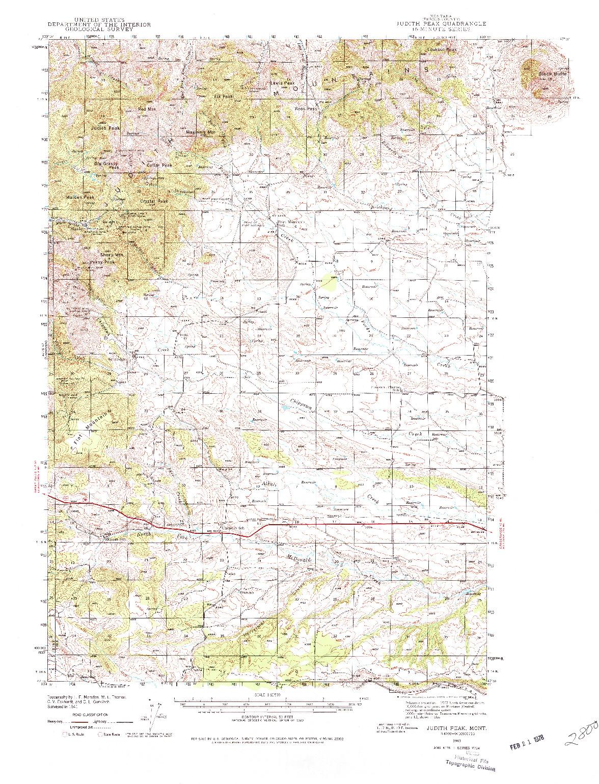 USGS 1:62500-SCALE QUADRANGLE FOR JUDITH PEAK, MT 1941