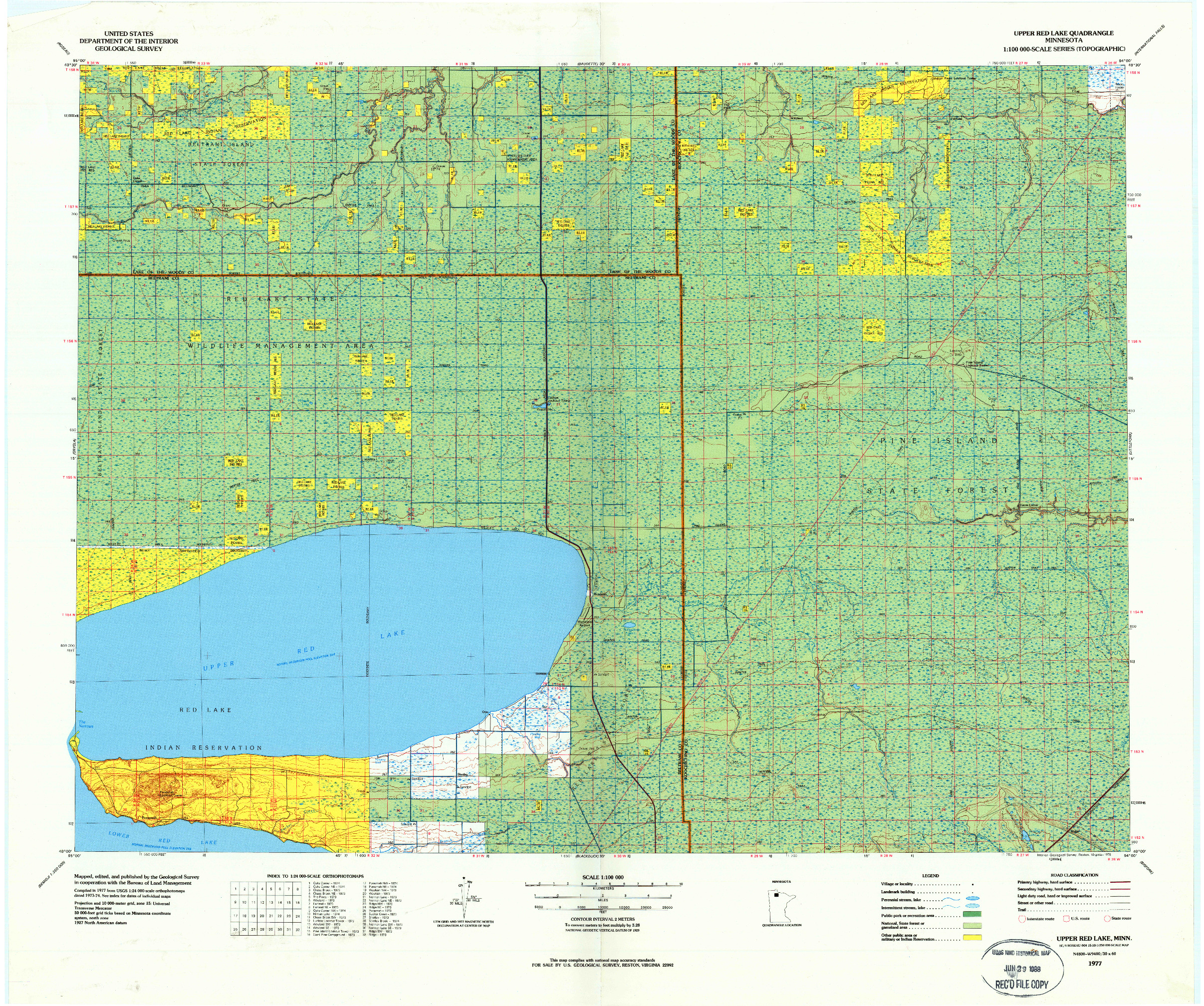 USGS 1:100000-SCALE QUADRANGLE FOR UPPER RED LAKE, MN 1977