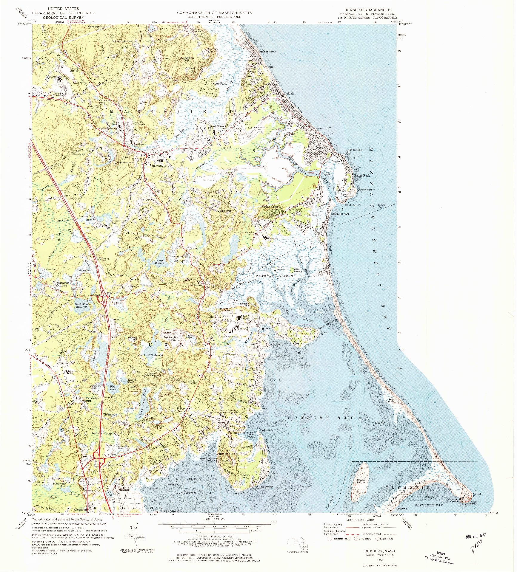USGS 1:24000-SCALE QUADRANGLE FOR DUXBURY, MA 1974