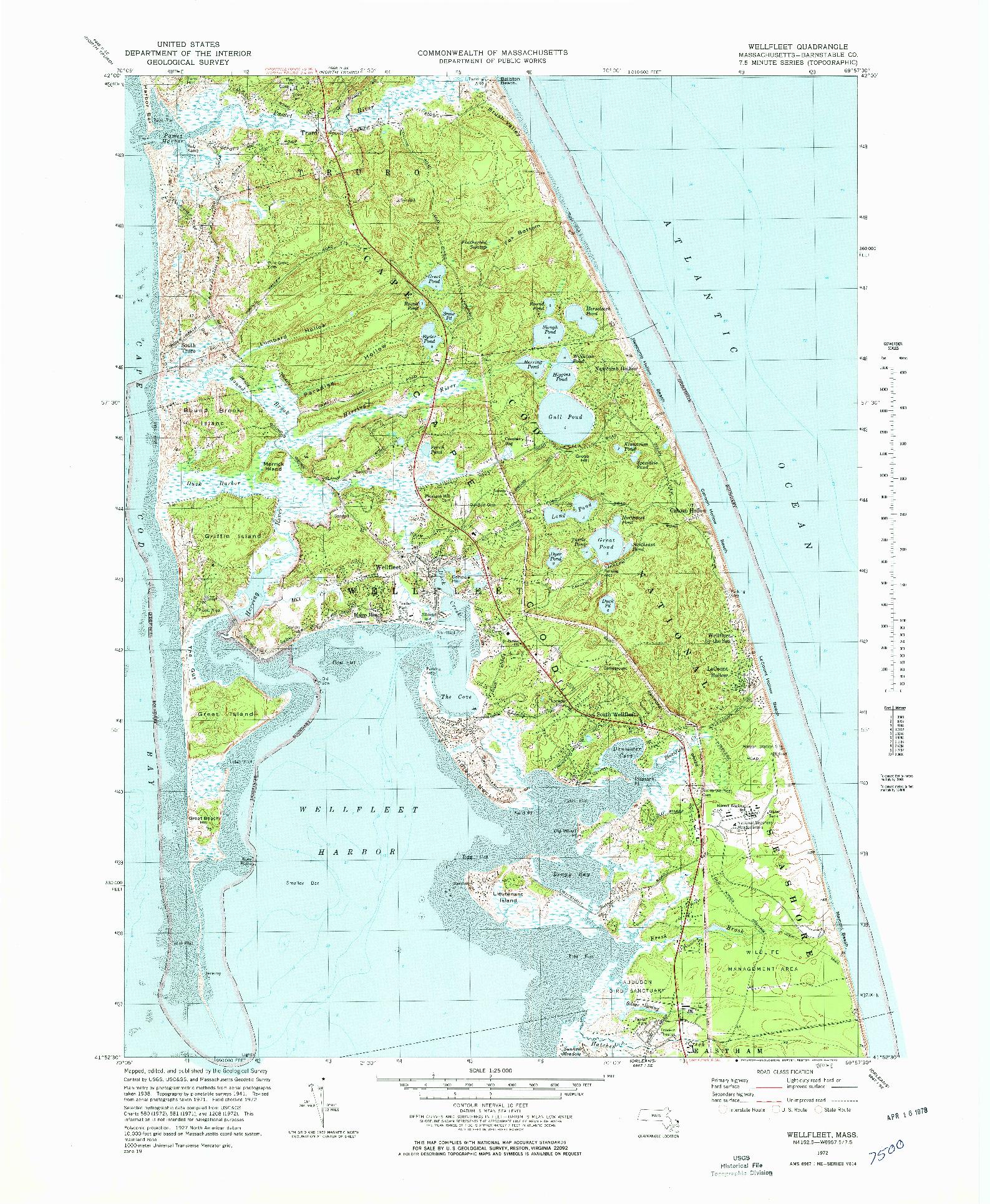 USGS 1:25000-SCALE QUADRANGLE FOR WELLFLEET, MA 1972