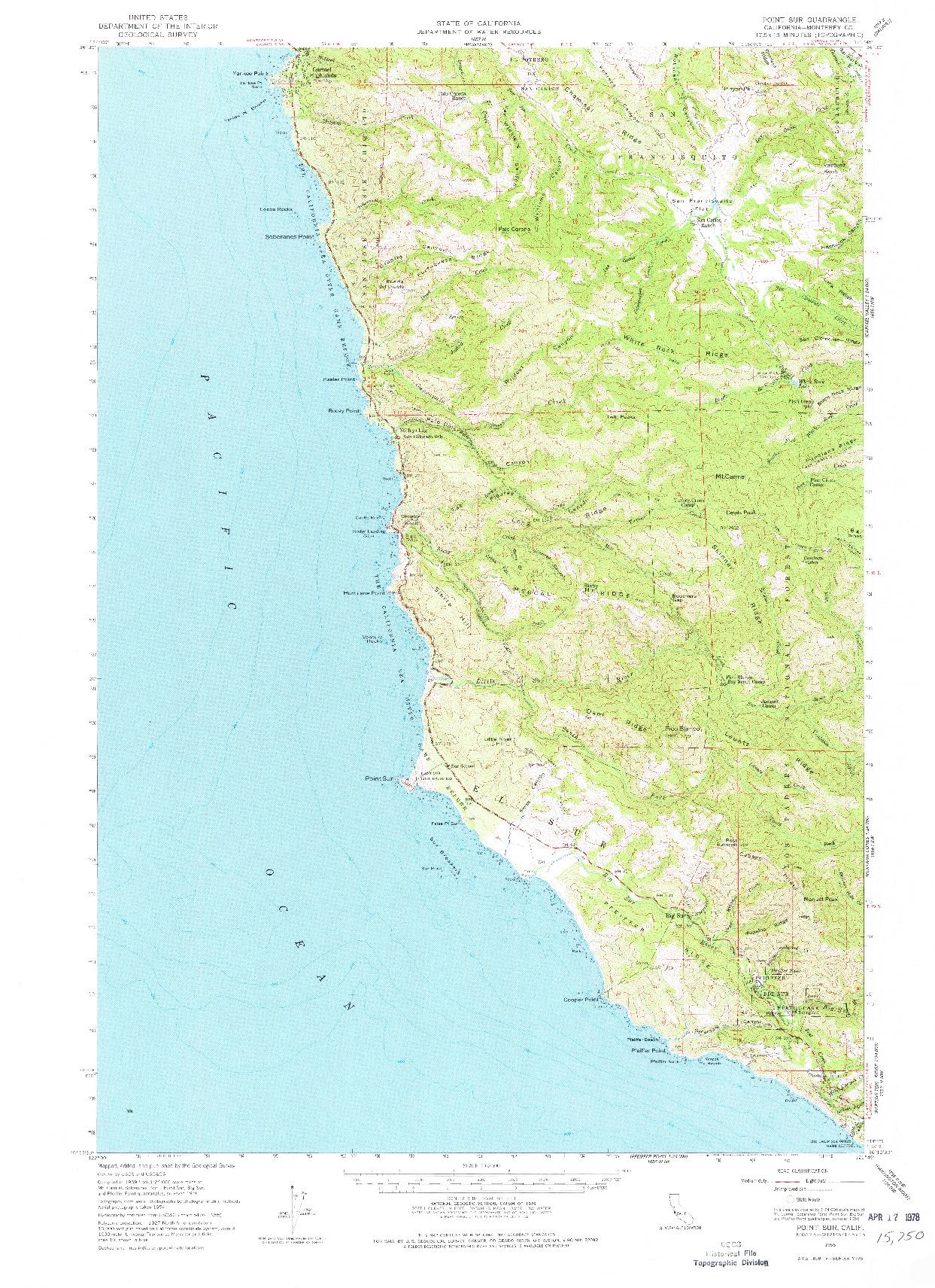 USGS 1:62500-SCALE QUADRANGLE FOR POINT SUR, CA 1956