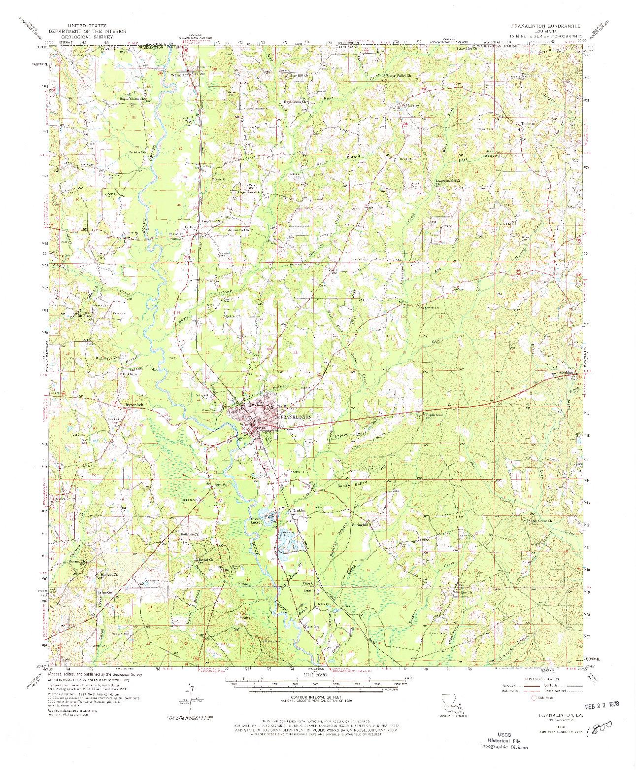 USGS 1:62500-SCALE QUADRANGLE FOR FRANKLINTON, LA 1958